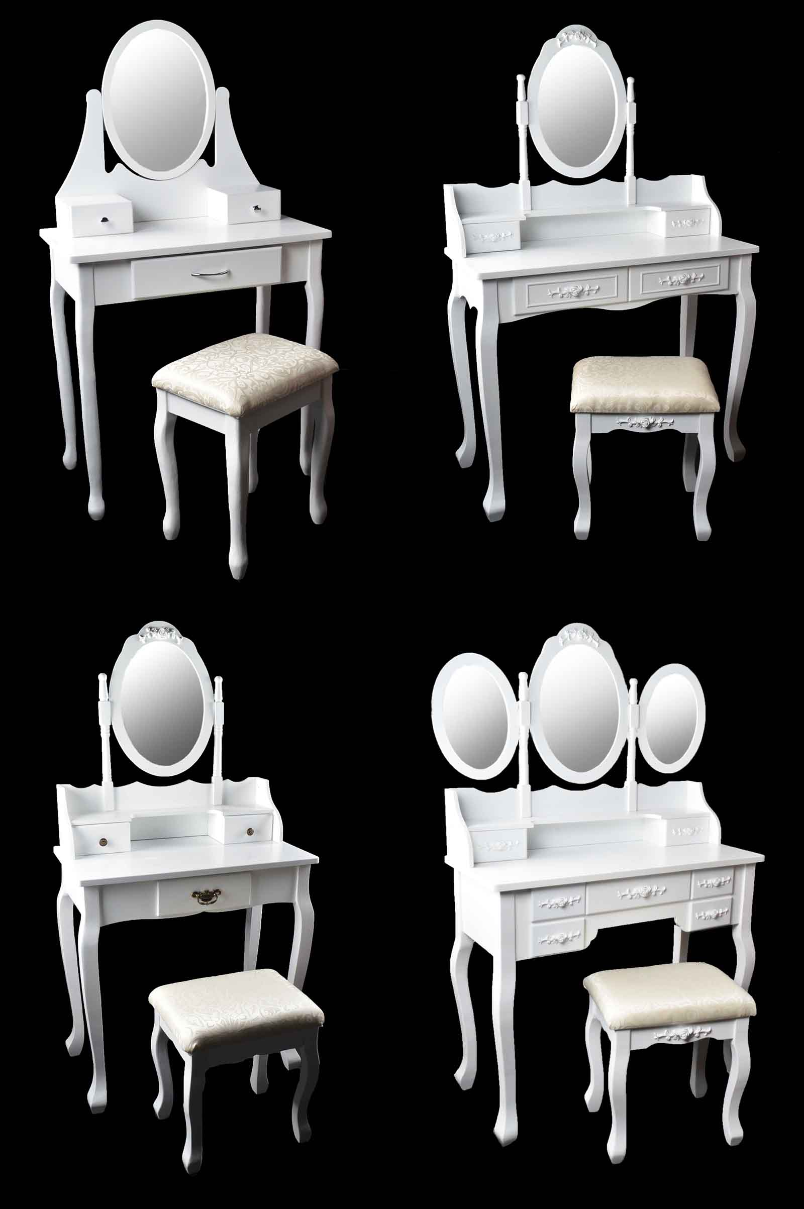 schminktisch frisiertisch kosmetiktisch mit spiegel hocker vintage shabby chic ebay. Black Bedroom Furniture Sets. Home Design Ideas