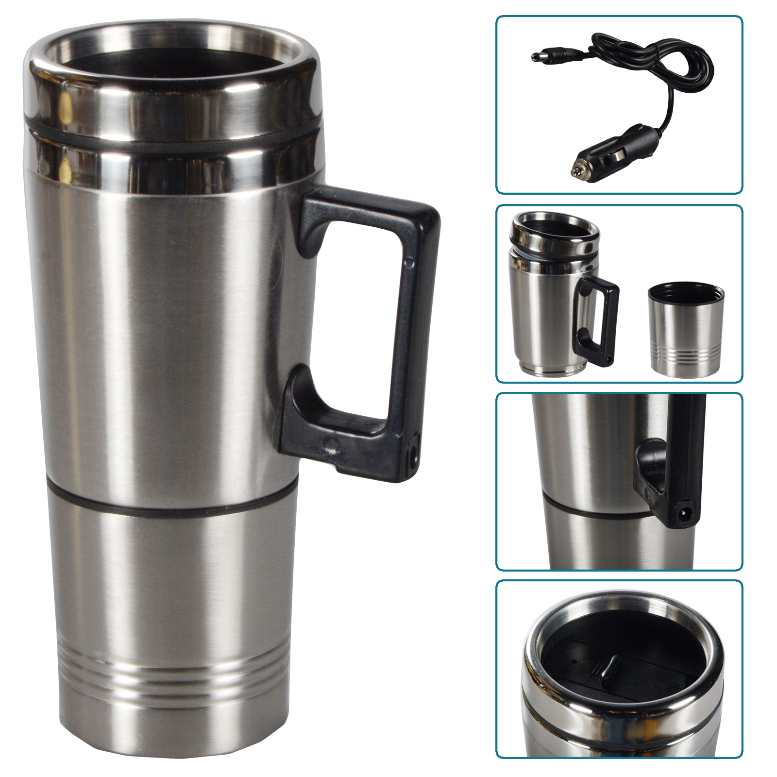 heatable drinking cup coffee mug car cup stainless steel insulated mug 12v ebay. Black Bedroom Furniture Sets. Home Design Ideas