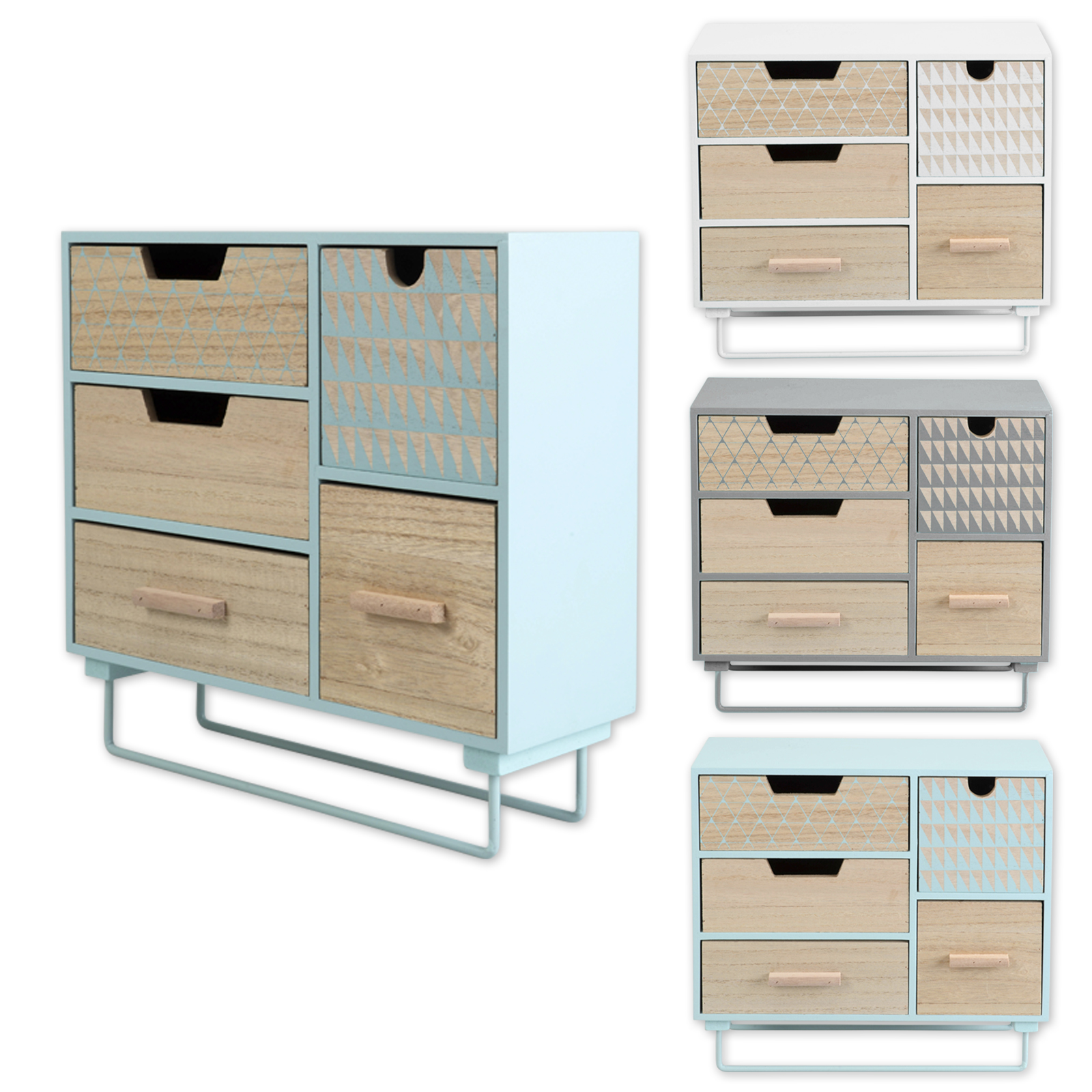schubladenschrank mini kommode auf standfu schubladen kasten holz bunt shabby ebay. Black Bedroom Furniture Sets. Home Design Ideas