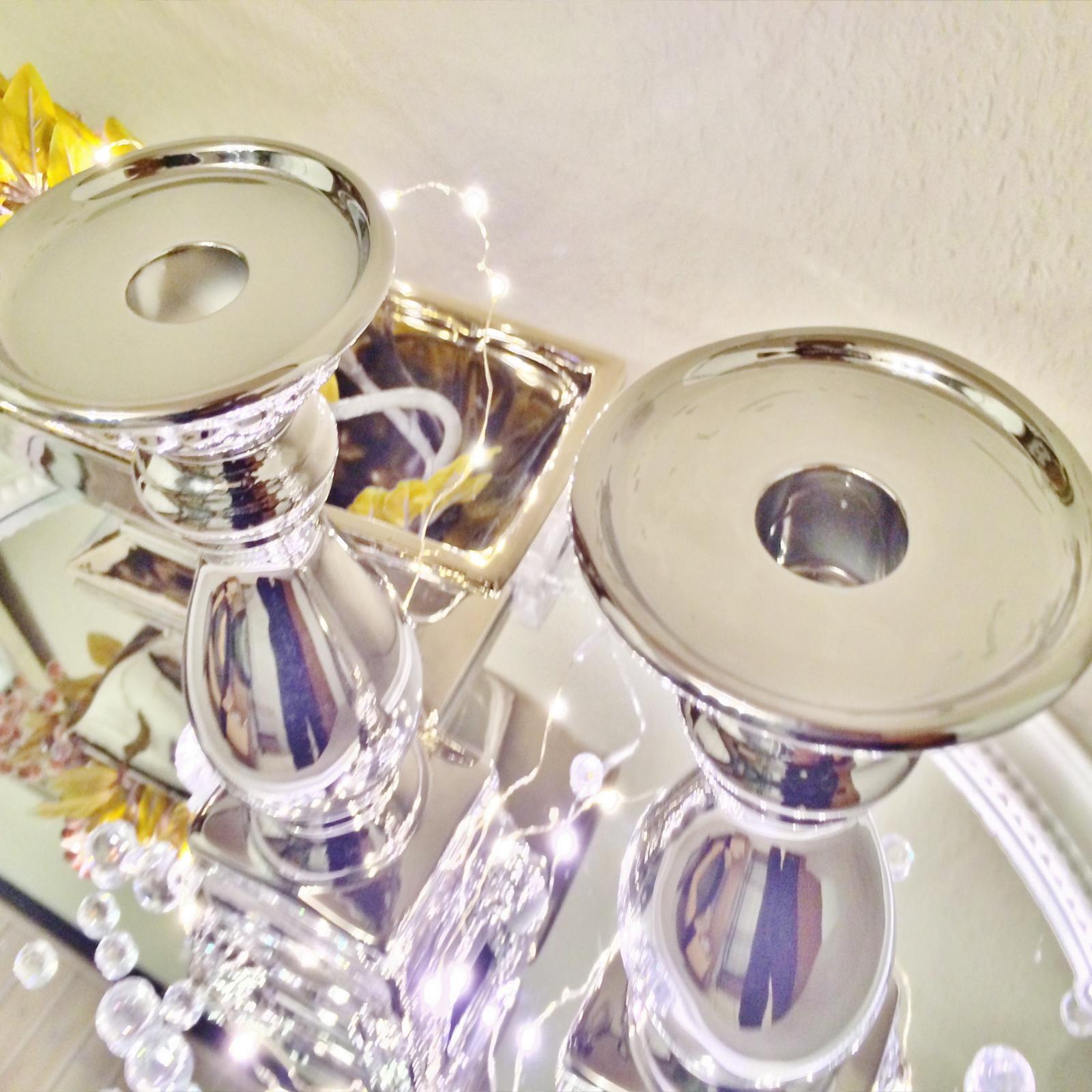 Katy porta candele candela decorazione ceramica argento for Decorazione ceramica