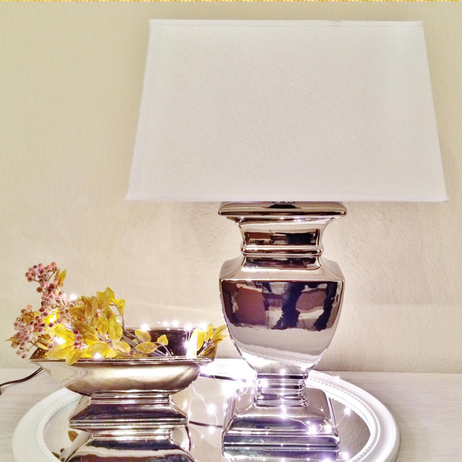 59 cm tischlampe wei shabby chic tischleuchte silber keramiklampe lampe leuchte ebay. Black Bedroom Furniture Sets. Home Design Ideas