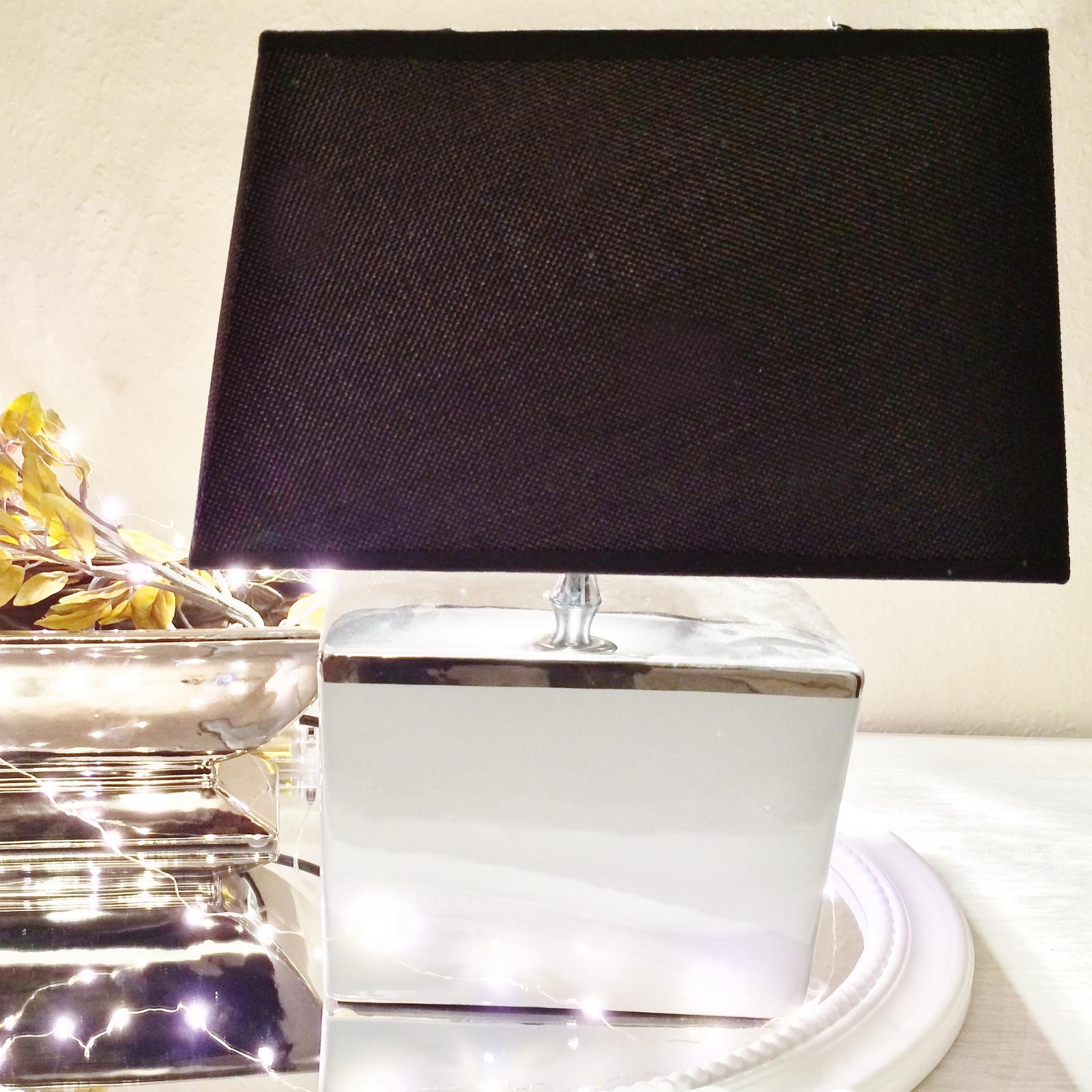 rechteckig tischlampe grau silber shabby chic tischleuchte. Black Bedroom Furniture Sets. Home Design Ideas