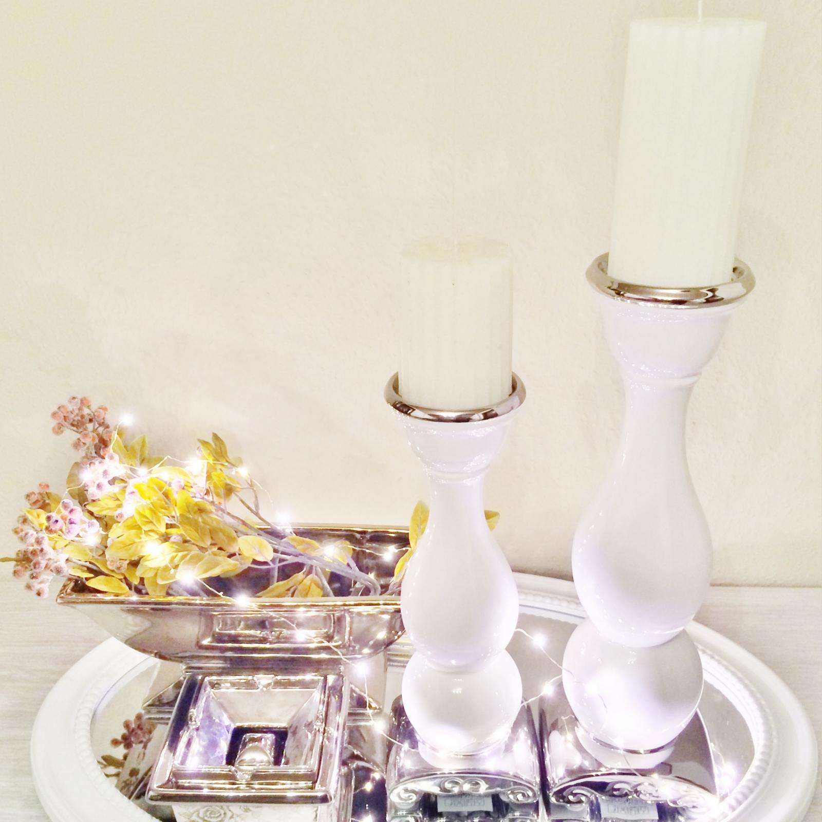 Wei Silber Kerzenleuchter Kerzenst Nder Kerze Deko
