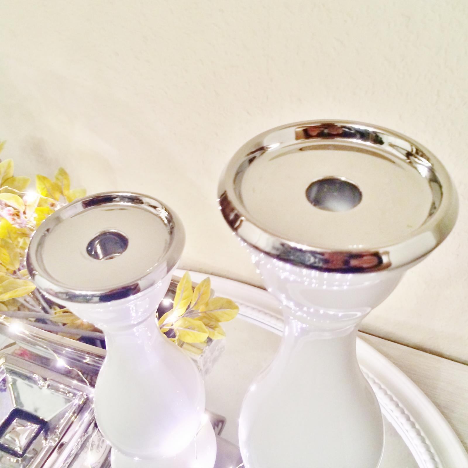 Bianco argento candelabro candeliere decorazione in for Decorazione ceramica