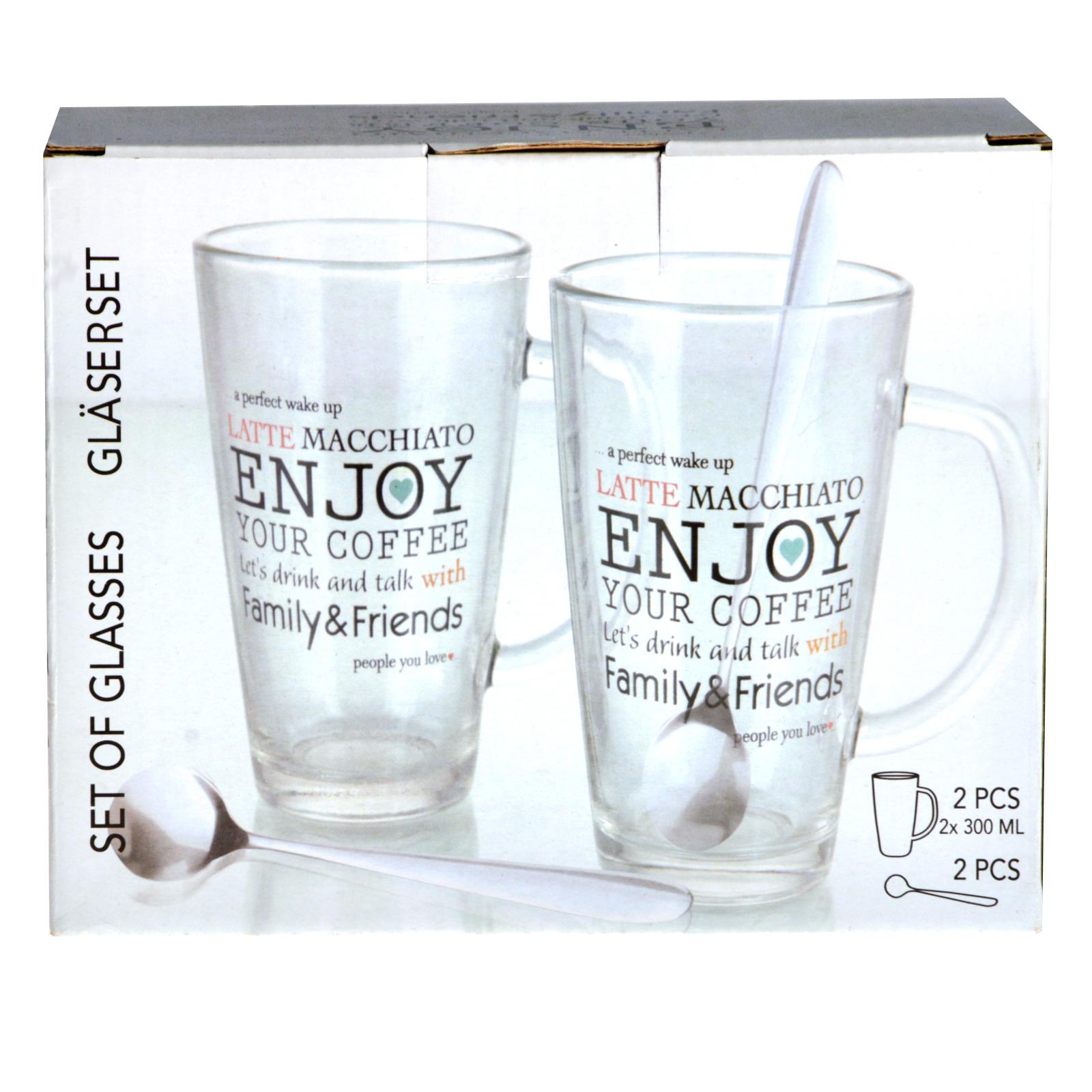 2 lens set enjoy latte macchiato with henkel glass cup mug. Black Bedroom Furniture Sets. Home Design Ideas