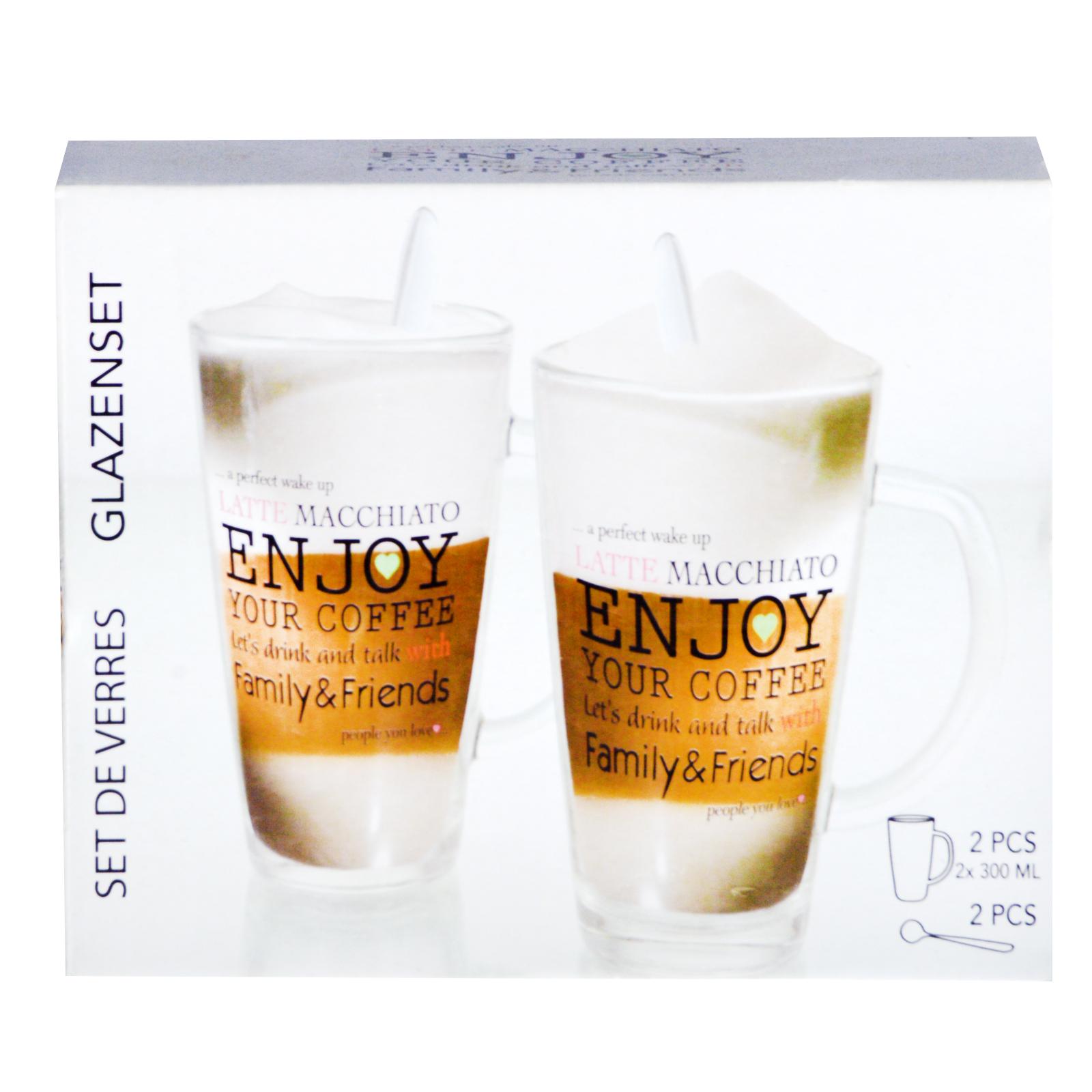 glas tasse 2 gl ser set enjoy latte macchiato mit. Black Bedroom Furniture Sets. Home Design Ideas