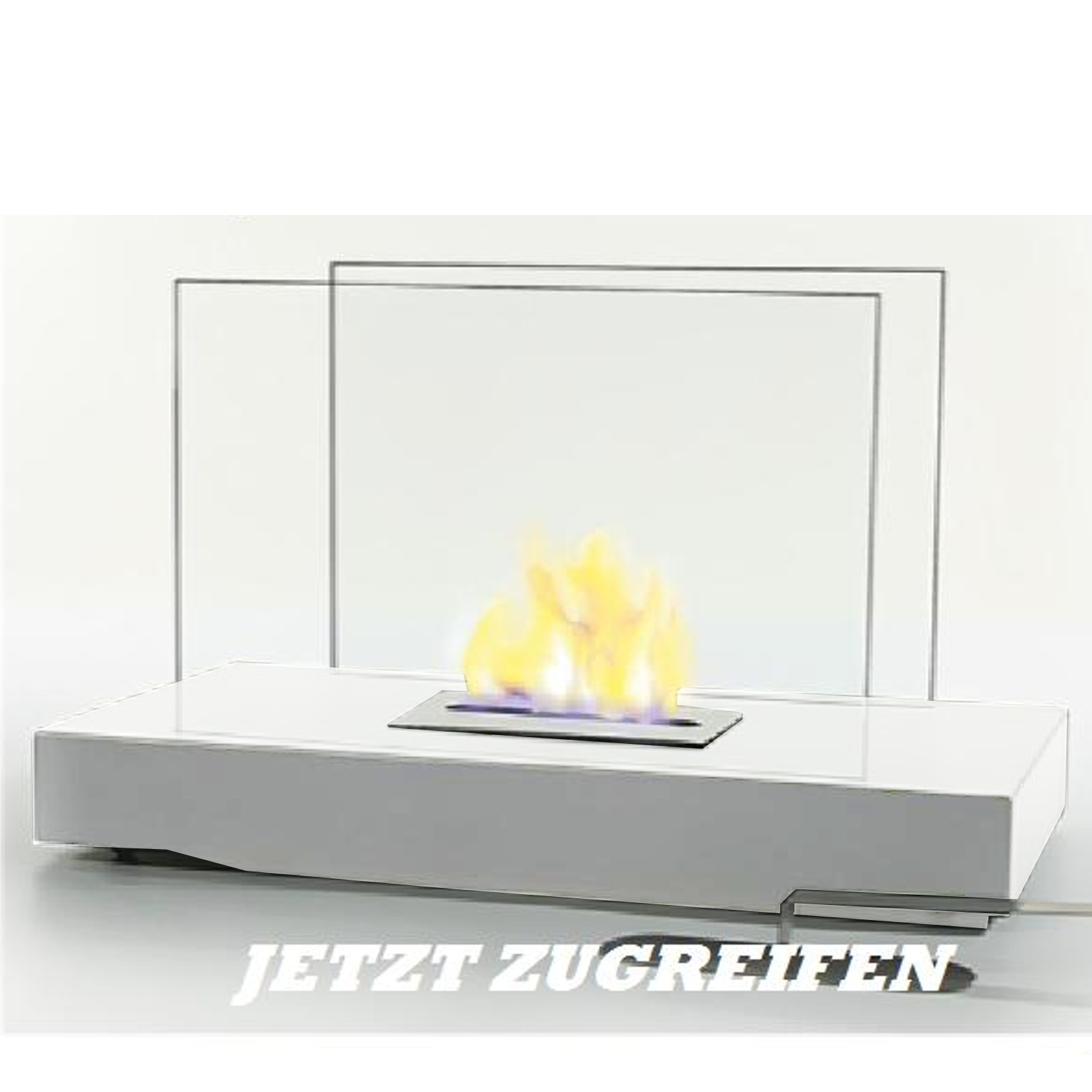 berlin white table fireplace bio ethanol table flame with safety glass chimney. Black Bedroom Furniture Sets. Home Design Ideas
