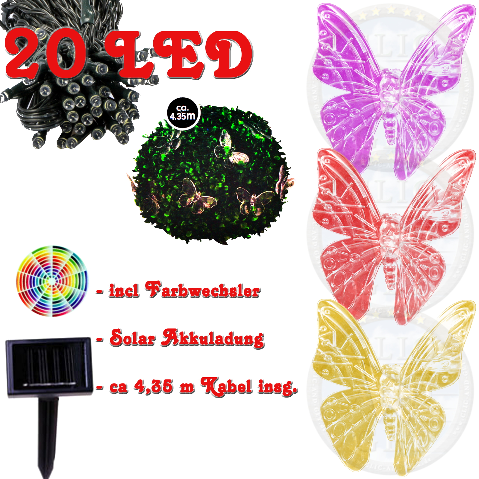 20 solaire led guirlande lumineuse papillon ext rieur - Guirlandes lumineuses solaires exterieures ...