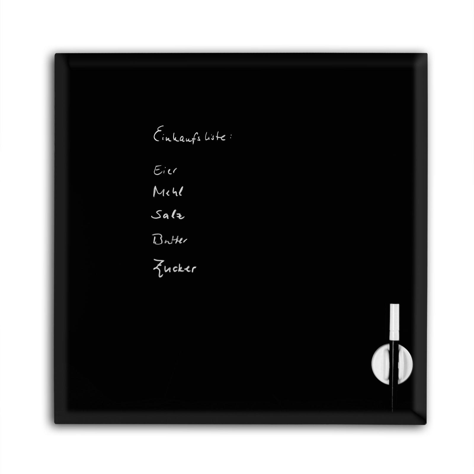 memoboard 45x45 schwarz glas magnet tafel pinboard magnetboard pinnwand ebay. Black Bedroom Furniture Sets. Home Design Ideas