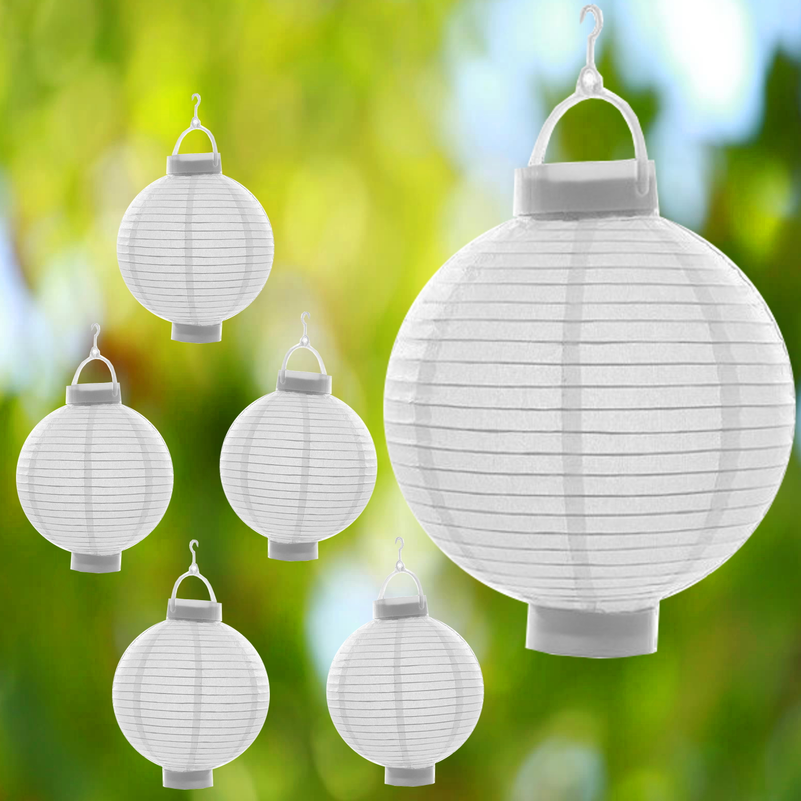 6 x wei papierlaterne led lampion lampions laterne garten ballon papierlampion ebay. Black Bedroom Furniture Sets. Home Design Ideas