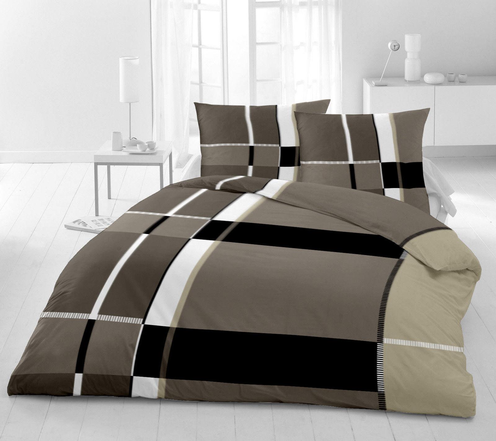 2 x bettw sche 4 tlg microfaser 135x200 cm schwarz weiss grau braun sand neu ebay. Black Bedroom Furniture Sets. Home Design Ideas