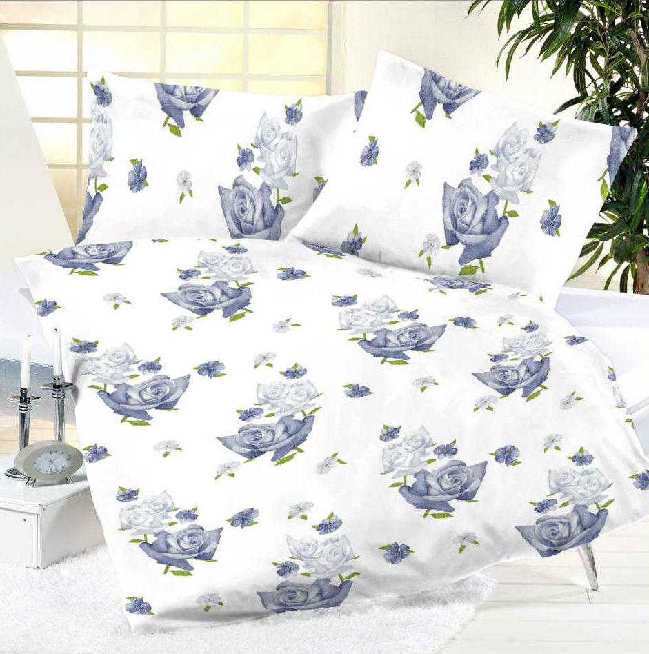 bettw sche 2 teilig microfaser 135x200 cm blau hellblau weiss blumen ebay. Black Bedroom Furniture Sets. Home Design Ideas