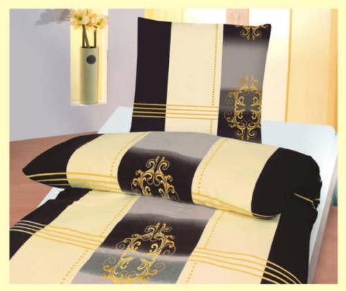 bettw sche 2 teilig microfaser 135x200 cm schwarz creme ranke neu. Black Bedroom Furniture Sets. Home Design Ideas