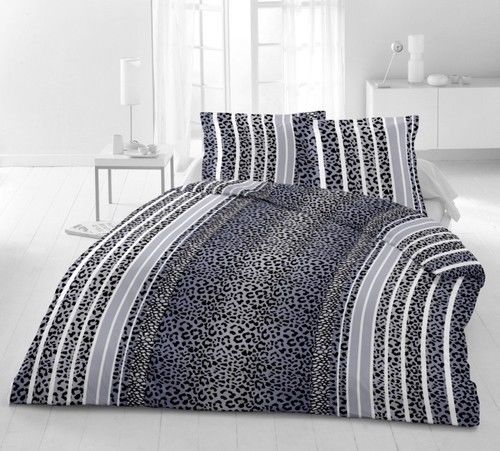 bettw sche 2 tlg microfaser 155x220 cm leopard blue blau grau anthrazit ebay. Black Bedroom Furniture Sets. Home Design Ideas