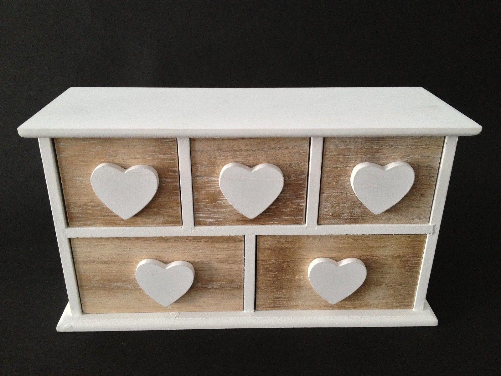 Minikommode Kommode 5 Schubladen Sortierregal Regal Herz