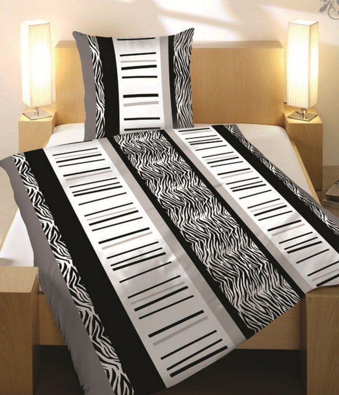 bettw sche 135x200 cm 2 teilig microfaser zebra schwarz weiss grau ornament ebay. Black Bedroom Furniture Sets. Home Design Ideas