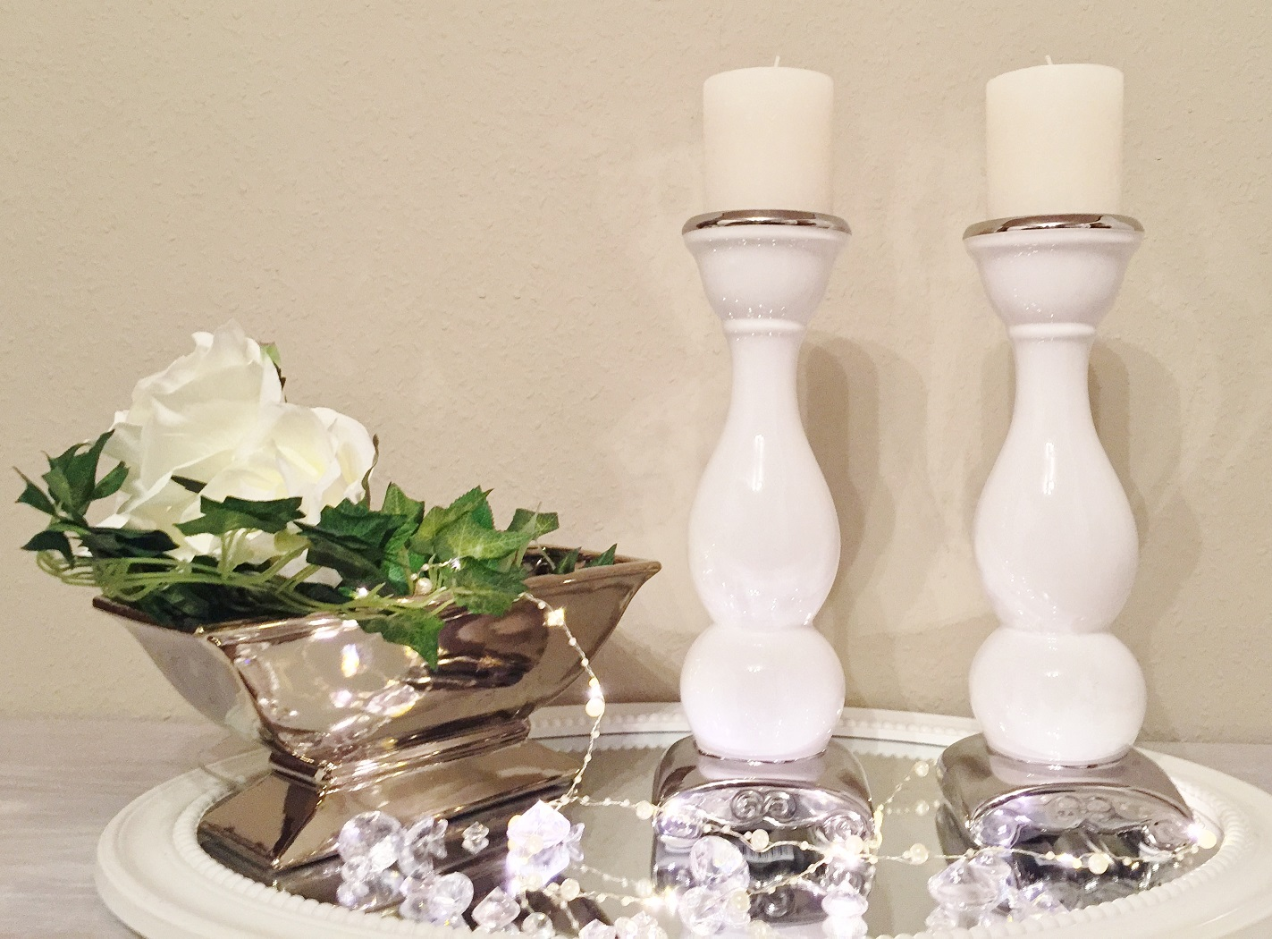 2 x 39 cm keramik kerzenst nder wei silber keramik. Black Bedroom Furniture Sets. Home Design Ideas