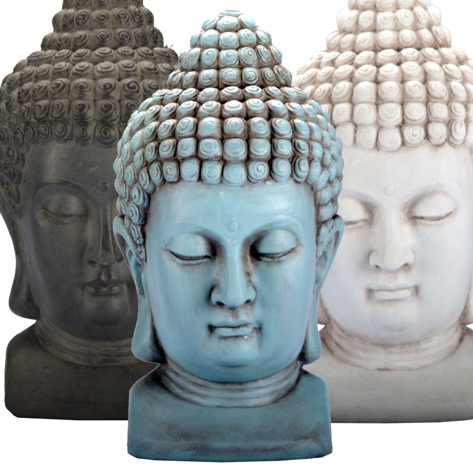 buddha kopf 3 farben figur dekoration innendekoration feng shui stein deko ebay. Black Bedroom Furniture Sets. Home Design Ideas