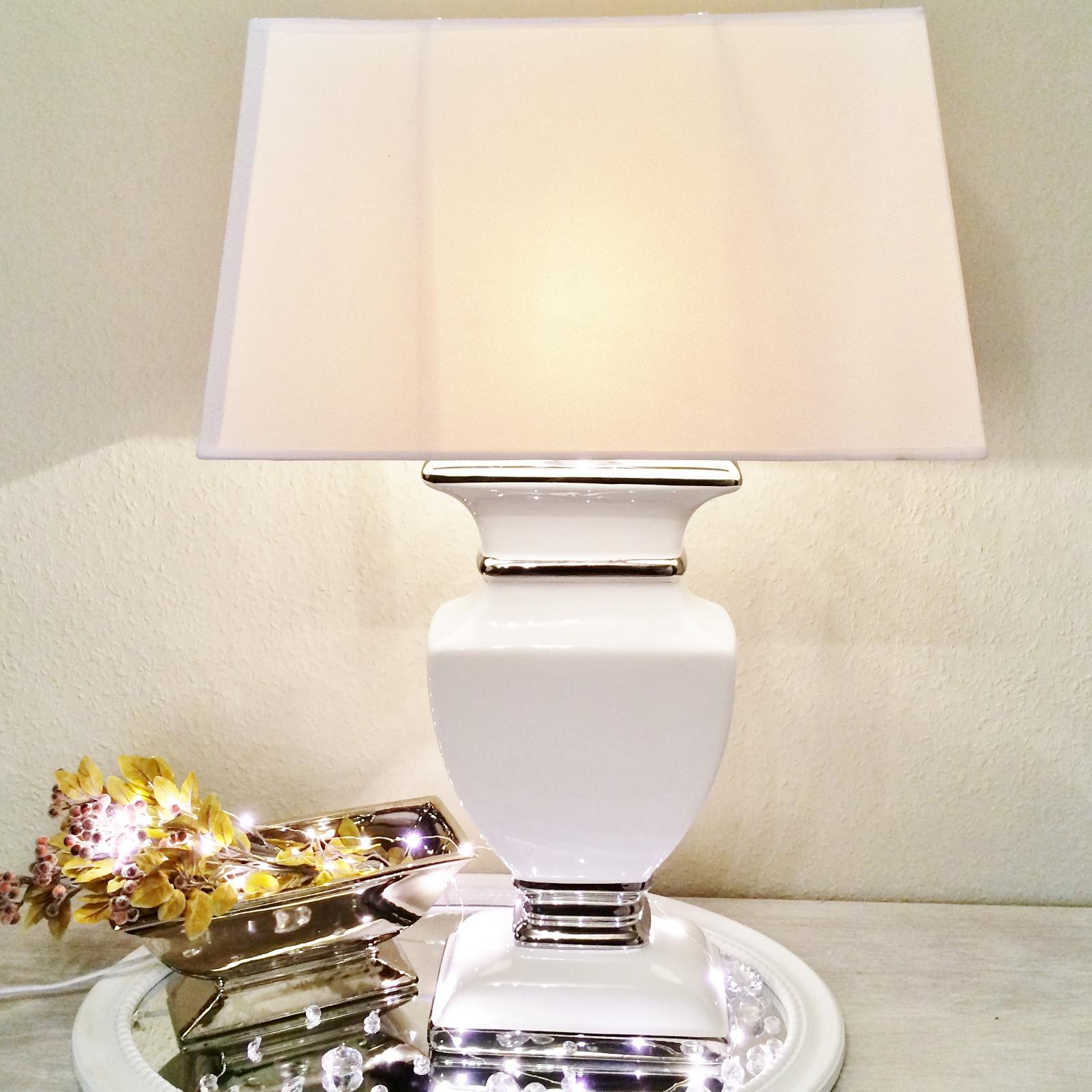 white lady keramik lampe 43cm lampenfu lampenschirm wei nachttischlampe shabby ebay. Black Bedroom Furniture Sets. Home Design Ideas