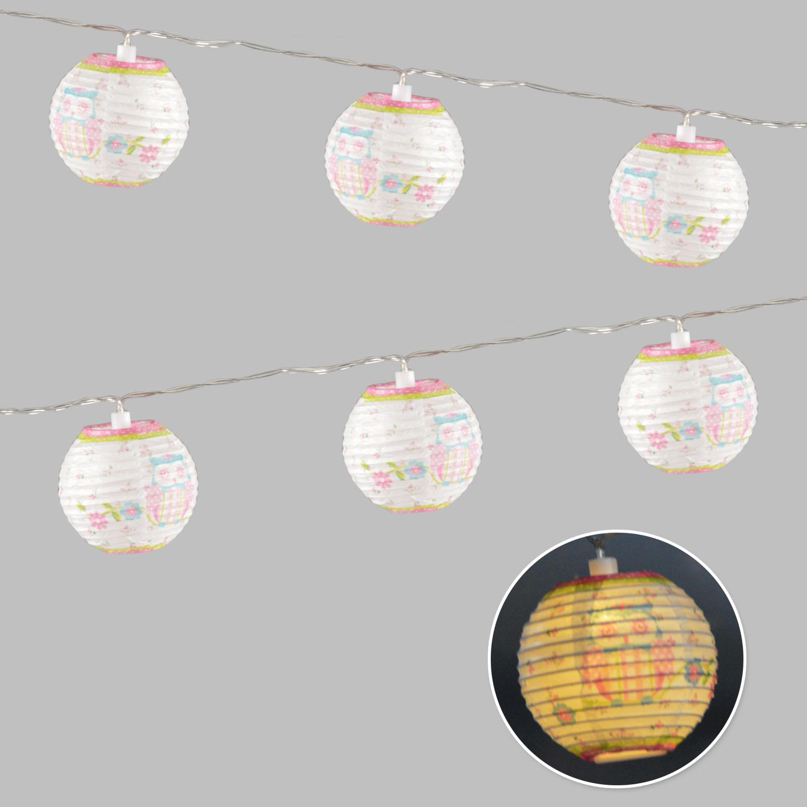 10 cha ne lumineuse led chouette lampion en papier bille - Lampion exterieur electrique ...