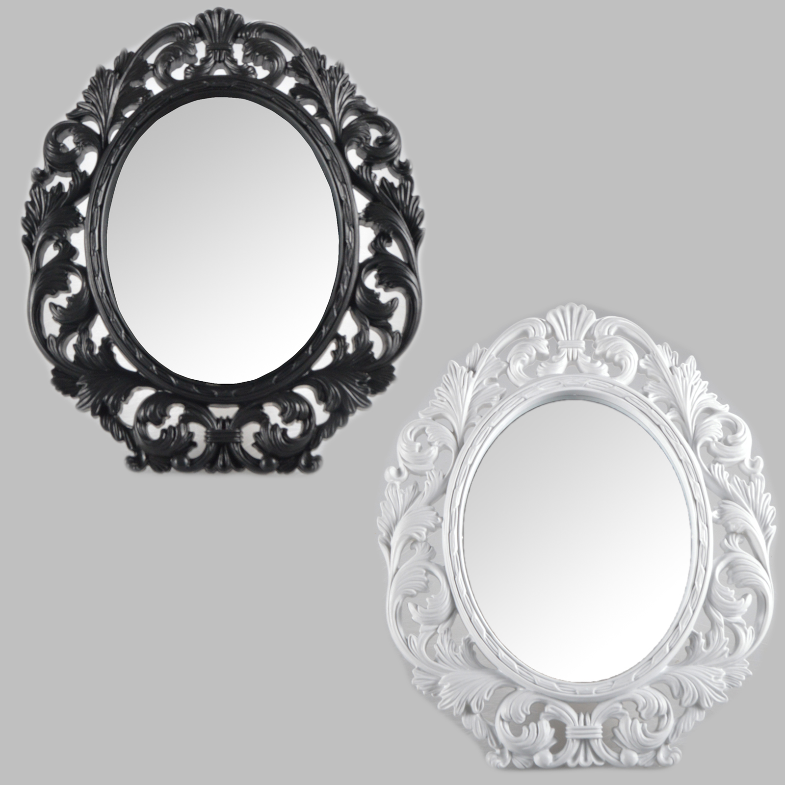 Table mirror cosmetic standing wall black white antique for Plastic baroque mirror