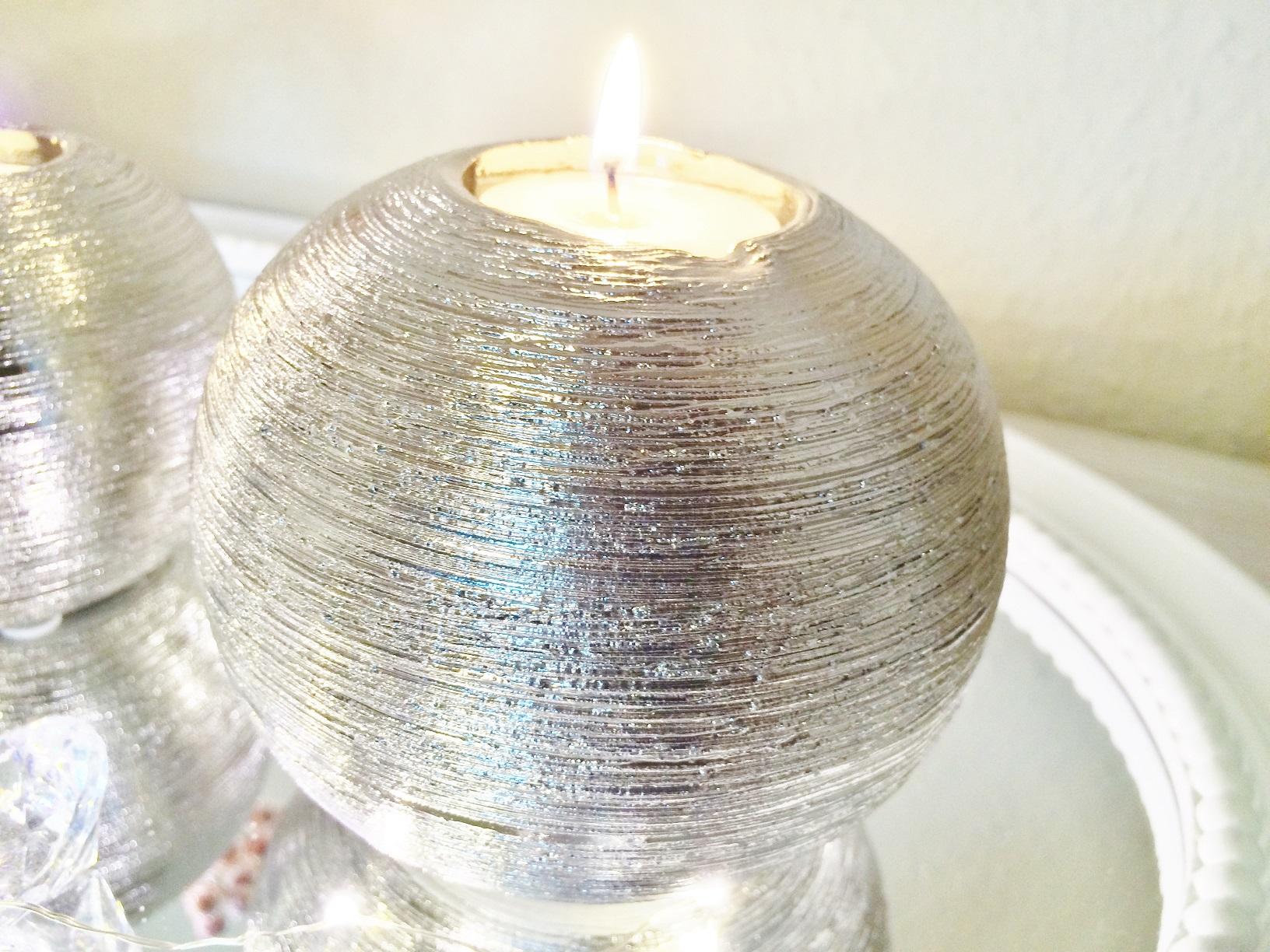 2 gr en teelichthalter windlicht kerzenst nder keramik silber tisch dekoration ebay. Black Bedroom Furniture Sets. Home Design Ideas