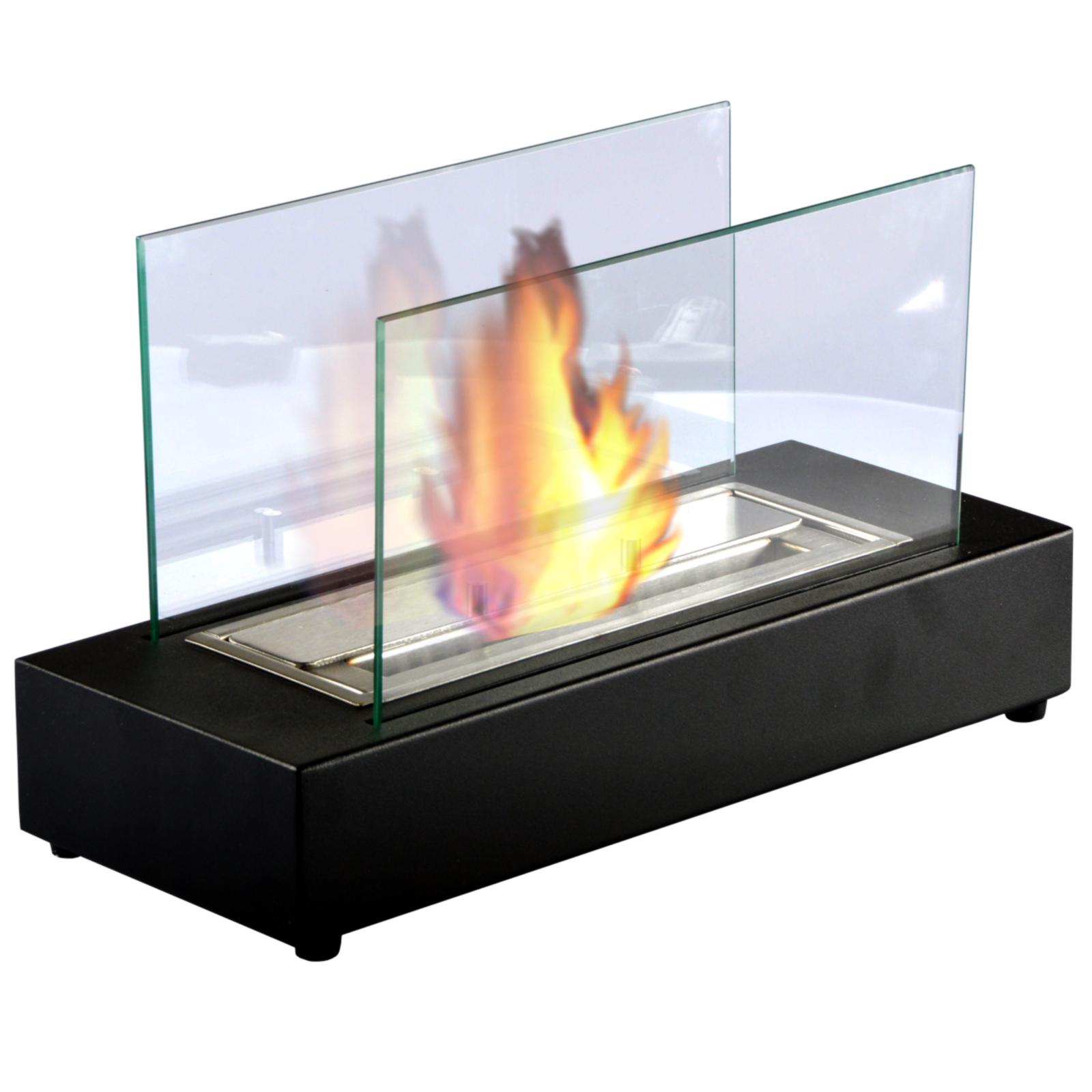 berlin schwarz tischkamin bio ethanol tischfeuer mit sicherheitsglas kamin ebay. Black Bedroom Furniture Sets. Home Design Ideas