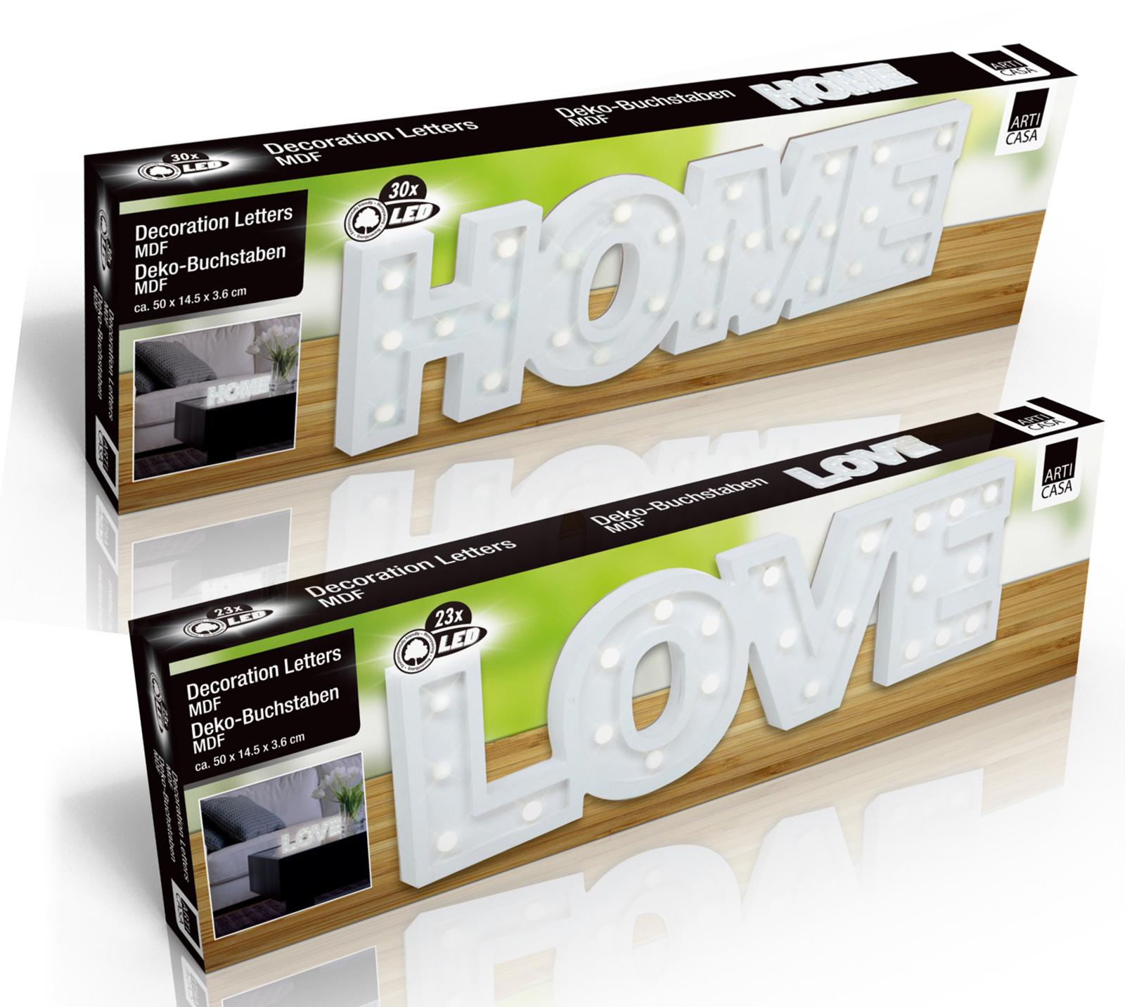 led dekobuchstaben home love 3d deko schriftzug buchstaben. Black Bedroom Furniture Sets. Home Design Ideas