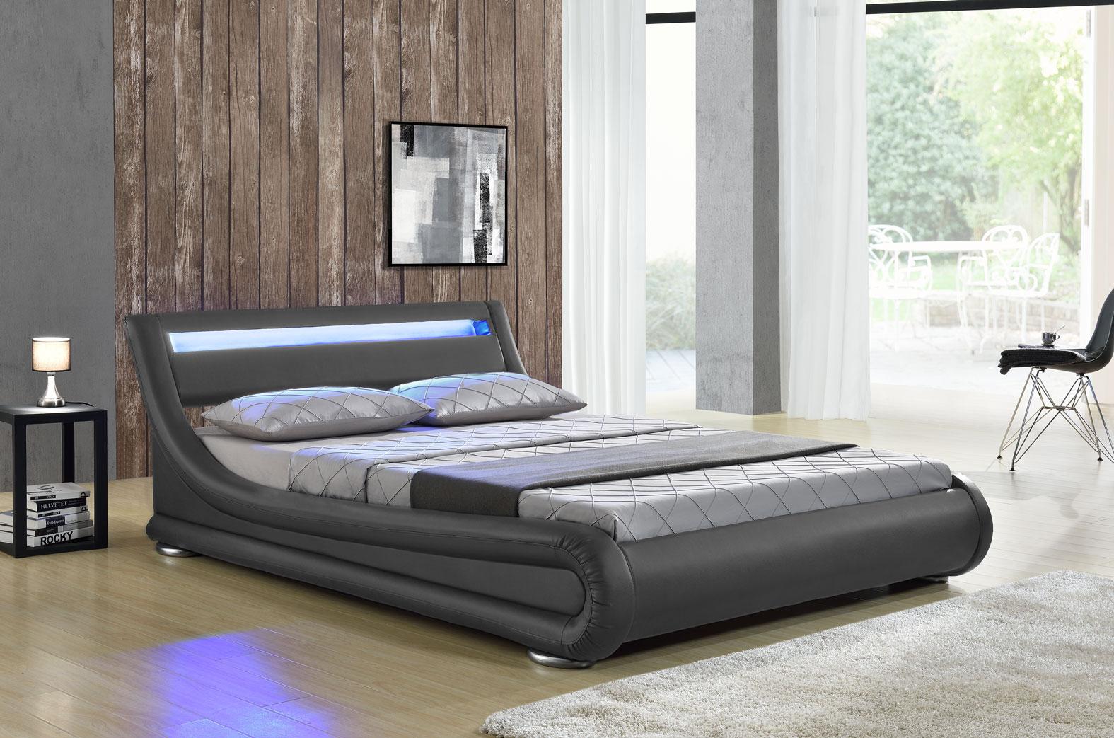 led bett seoul doppelbett polsterbett lattenrost. Black Bedroom Furniture Sets. Home Design Ideas