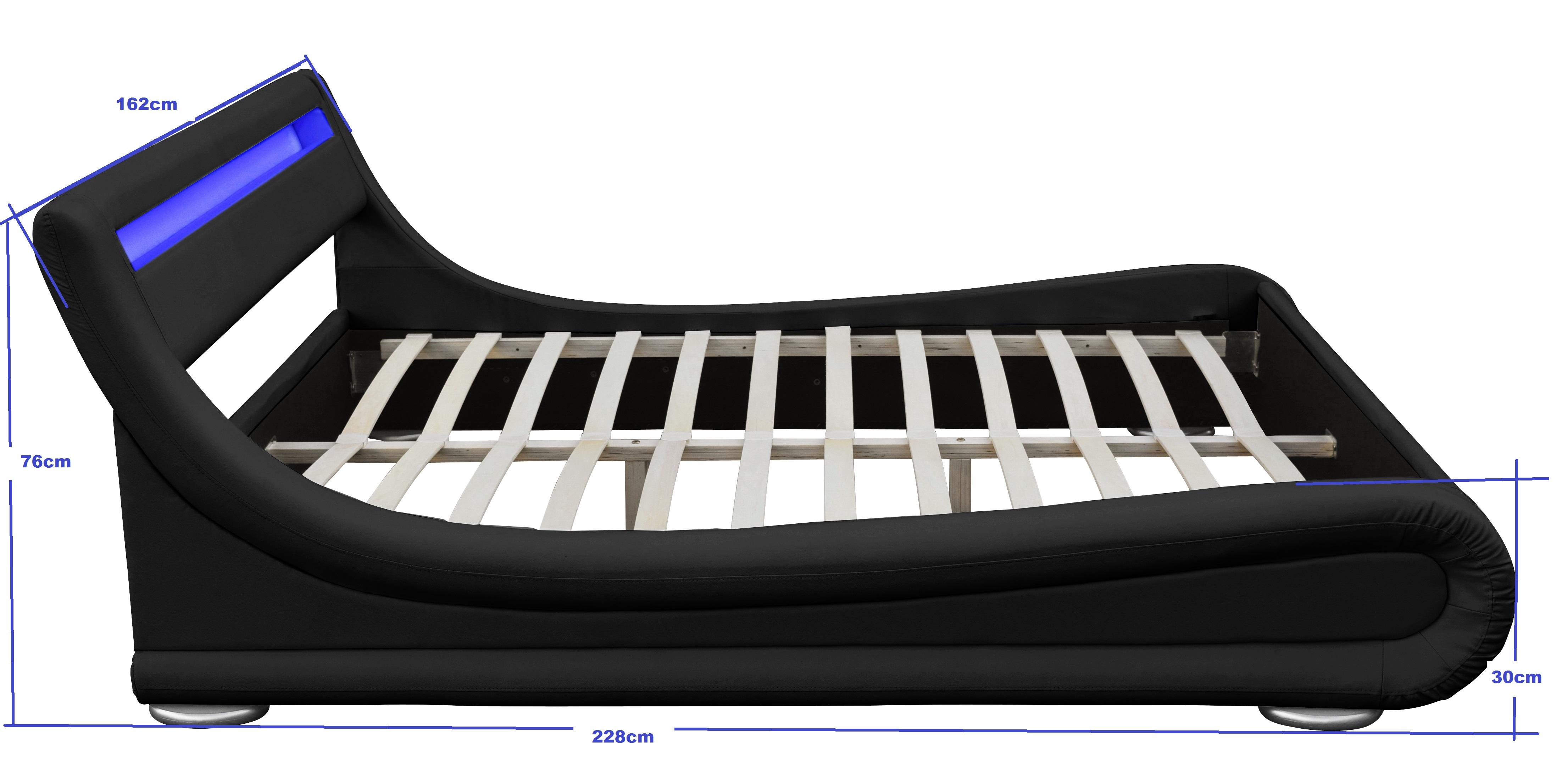 led bett seoul doppelbett polsterbett lattenrost kunstleder bettgestell ebay. Black Bedroom Furniture Sets. Home Design Ideas
