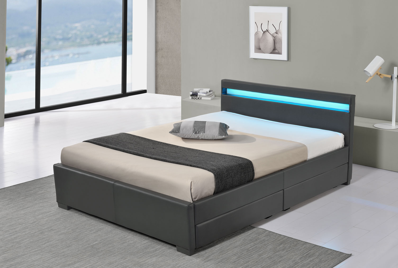 led bett lyon doppelbett polsterbett lattenrost kunstleder gestell bettkasten ebay. Black Bedroom Furniture Sets. Home Design Ideas