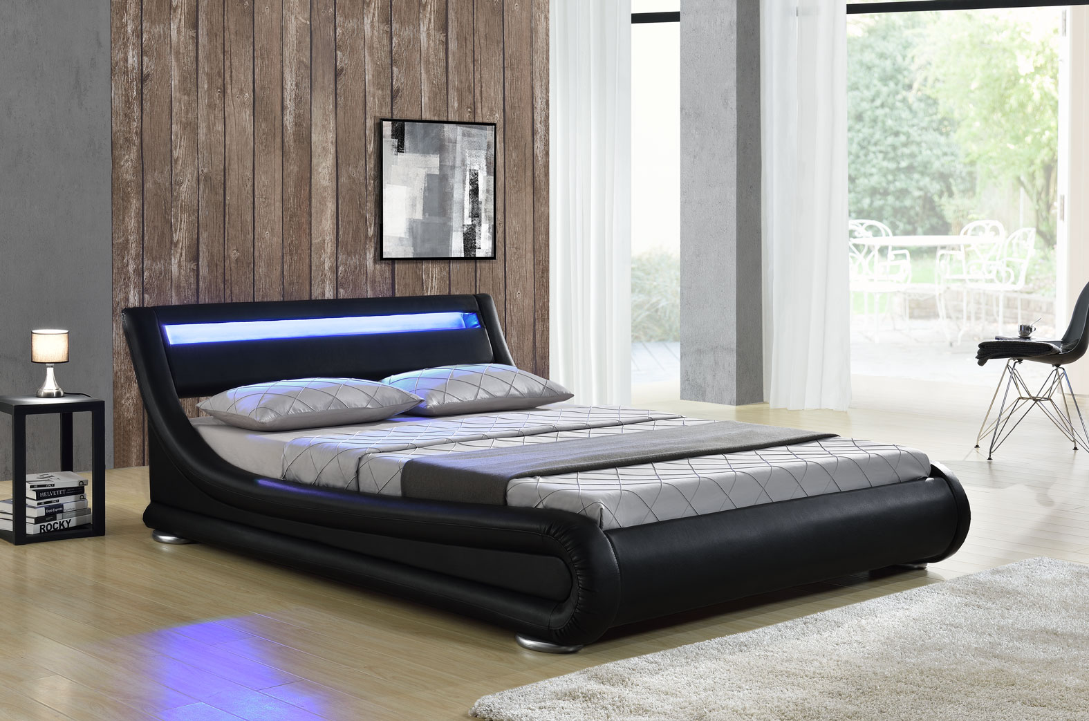 led bett seoul doppelbett polsterbett lattenrost kunstleder bettgestell ebay. Black Bedroom Furniture Sets. Home Design Ideas