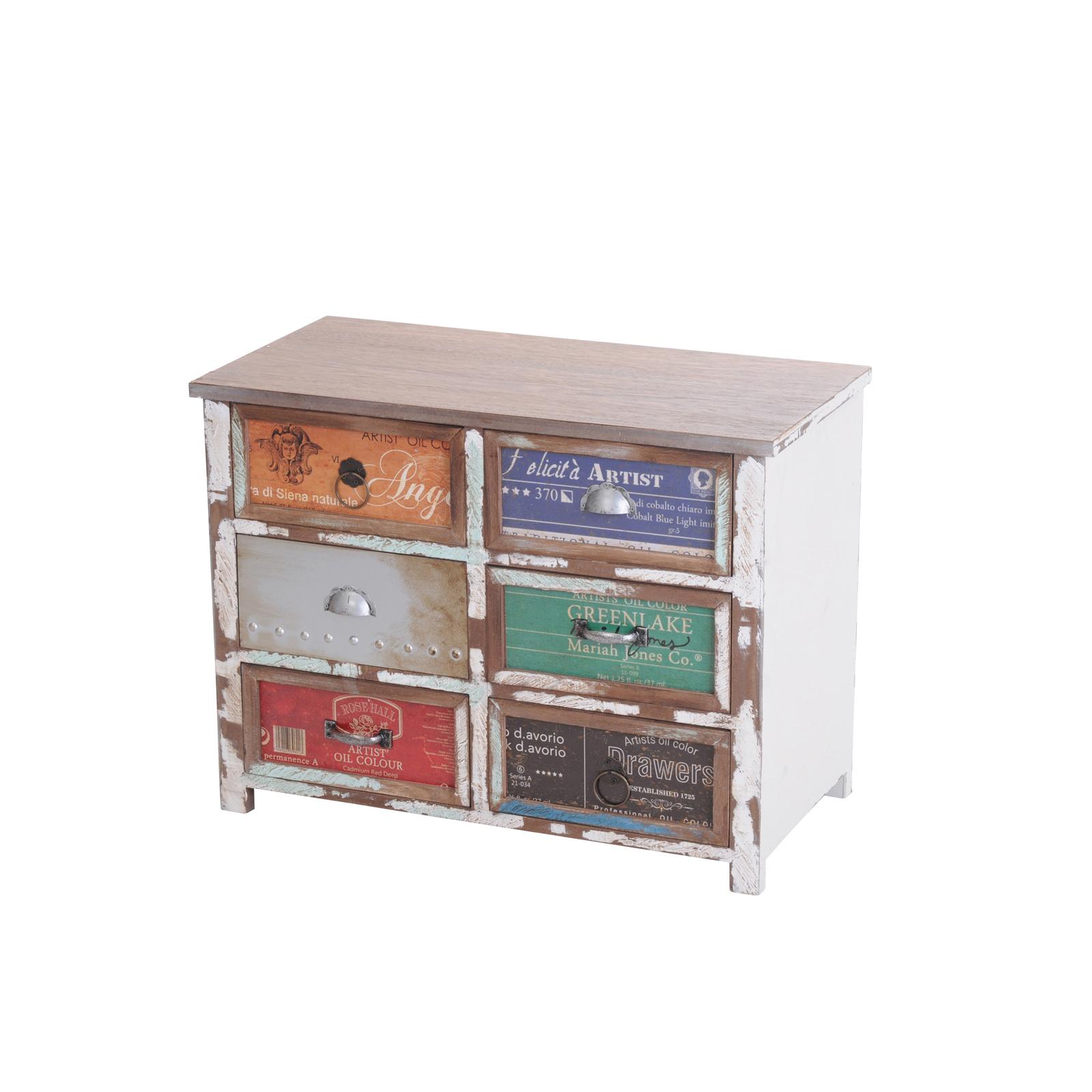 kommode favor sideboard schrank schubladen holzschrank holz shabby chic bunt ebay. Black Bedroom Furniture Sets. Home Design Ideas