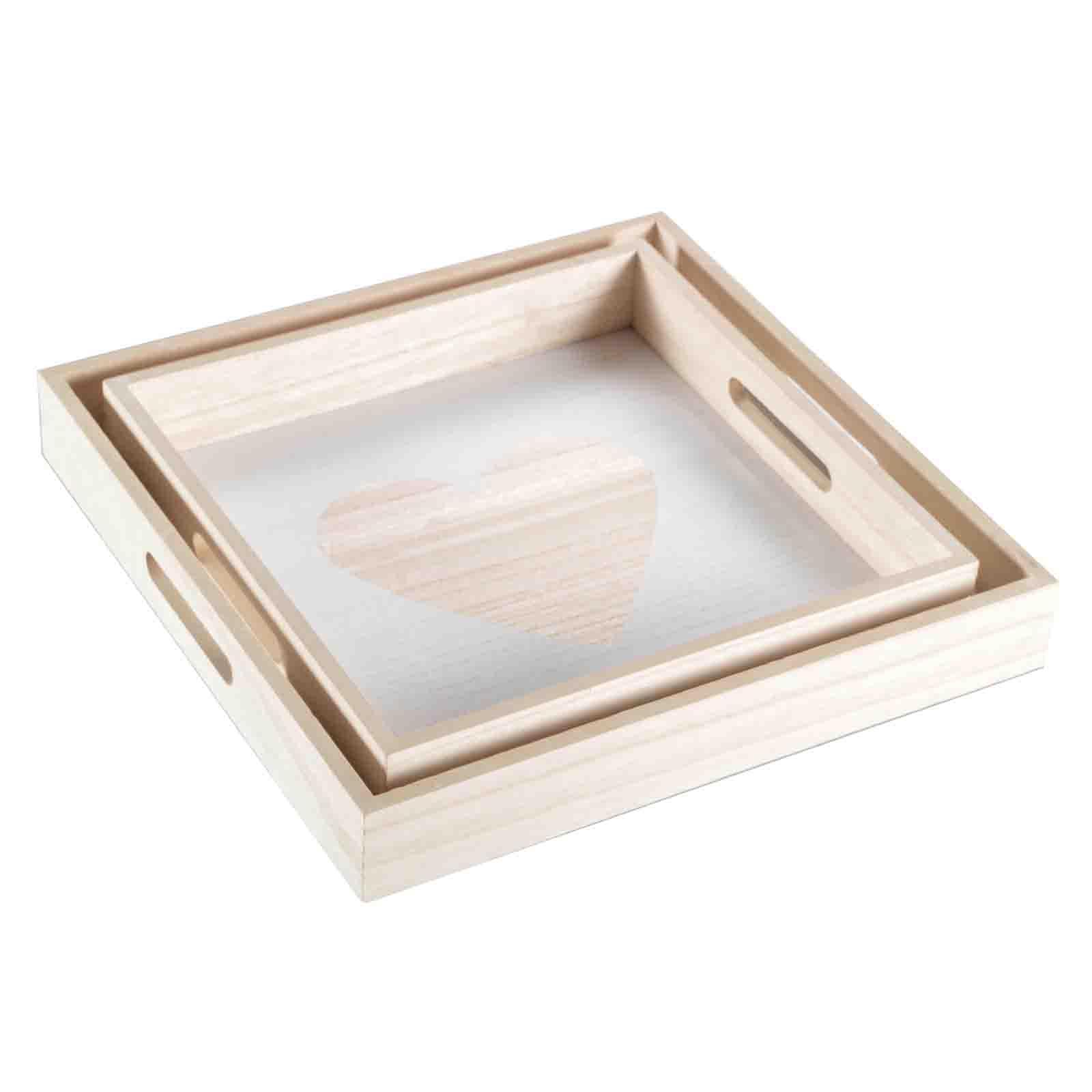 2er set tablett motive dekotablett holztablett kerzentablett deko shabby holz ebay. Black Bedroom Furniture Sets. Home Design Ideas
