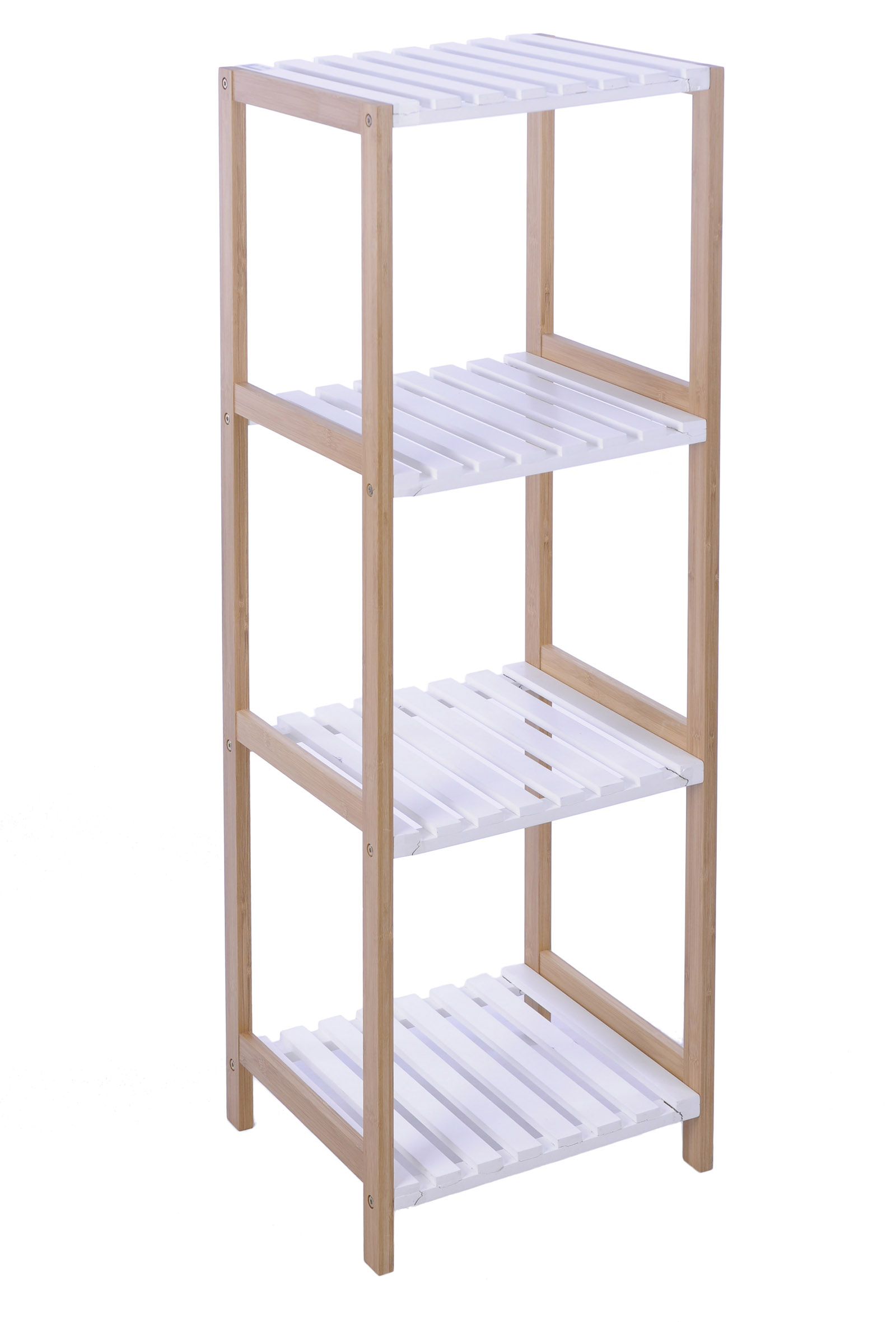Bathroom shelf rack standing wooden bamboo white natural 3 - Etagere salle de bain ventouse ...