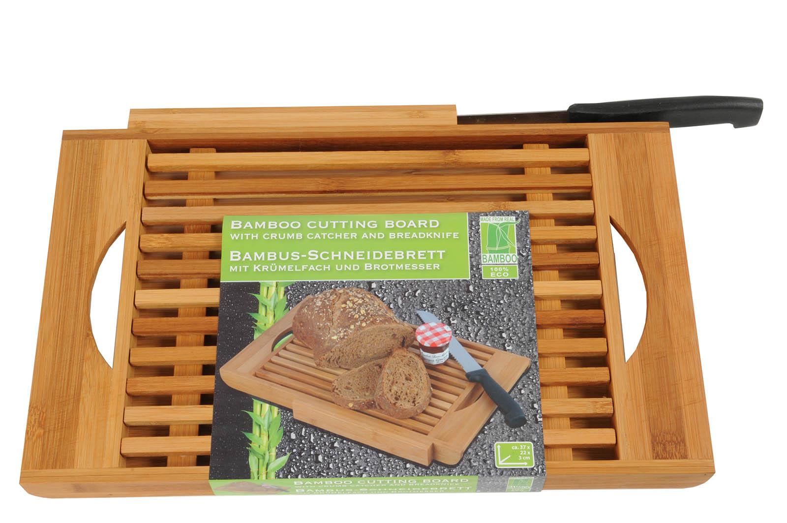 schneidebrett mit brotmesser bambus auffangschale. Black Bedroom Furniture Sets. Home Design Ideas