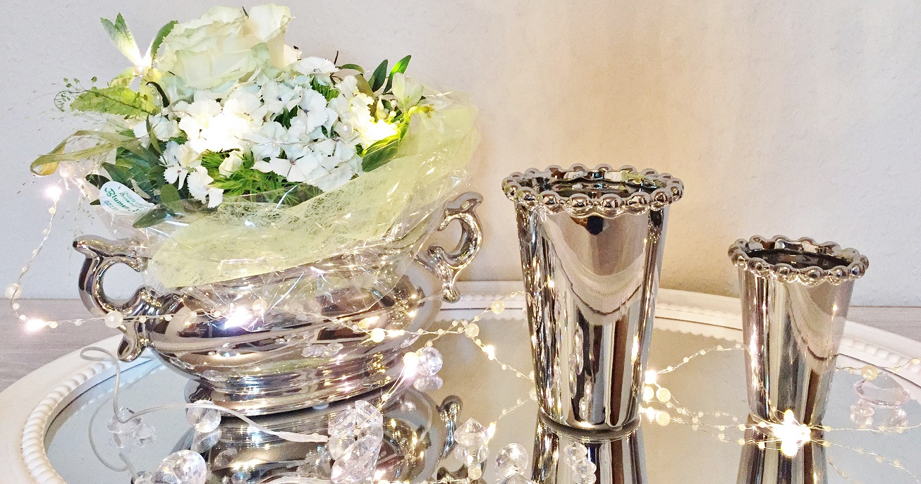 jeu de 2 vase en c ramique fleur argent vase bac fleurs shabby 5565ls ebay. Black Bedroom Furniture Sets. Home Design Ideas