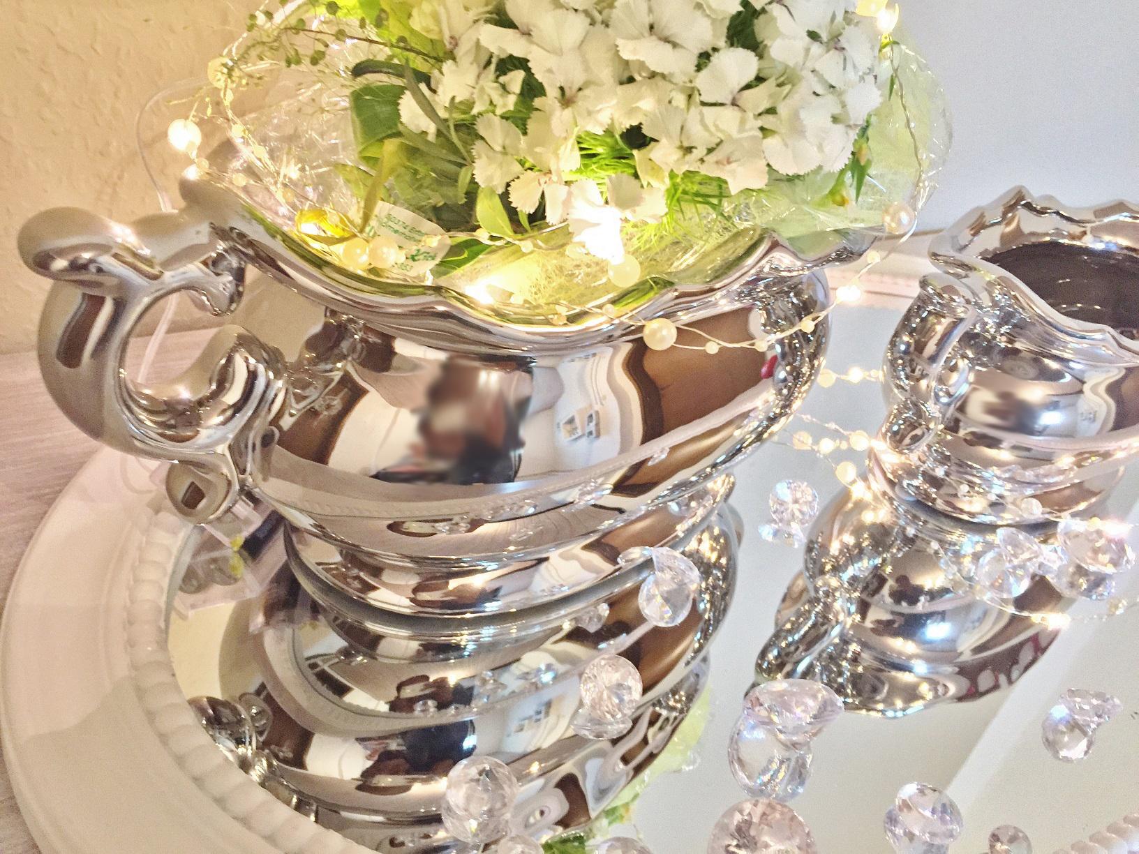 Set di 2 ceramica vaso cutesy argento vaso da fiori for Vaso di porcellana