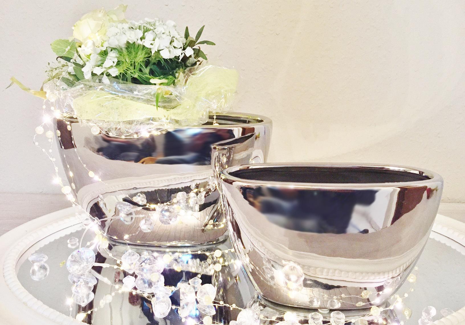 2er set keramik vase wonder silber hochglanz dekovase. Black Bedroom Furniture Sets. Home Design Ideas