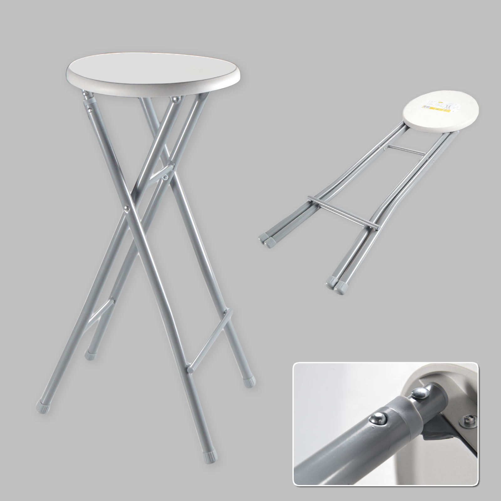 Bar Stool Xl Folding Chair High Foldable Metal White Grey