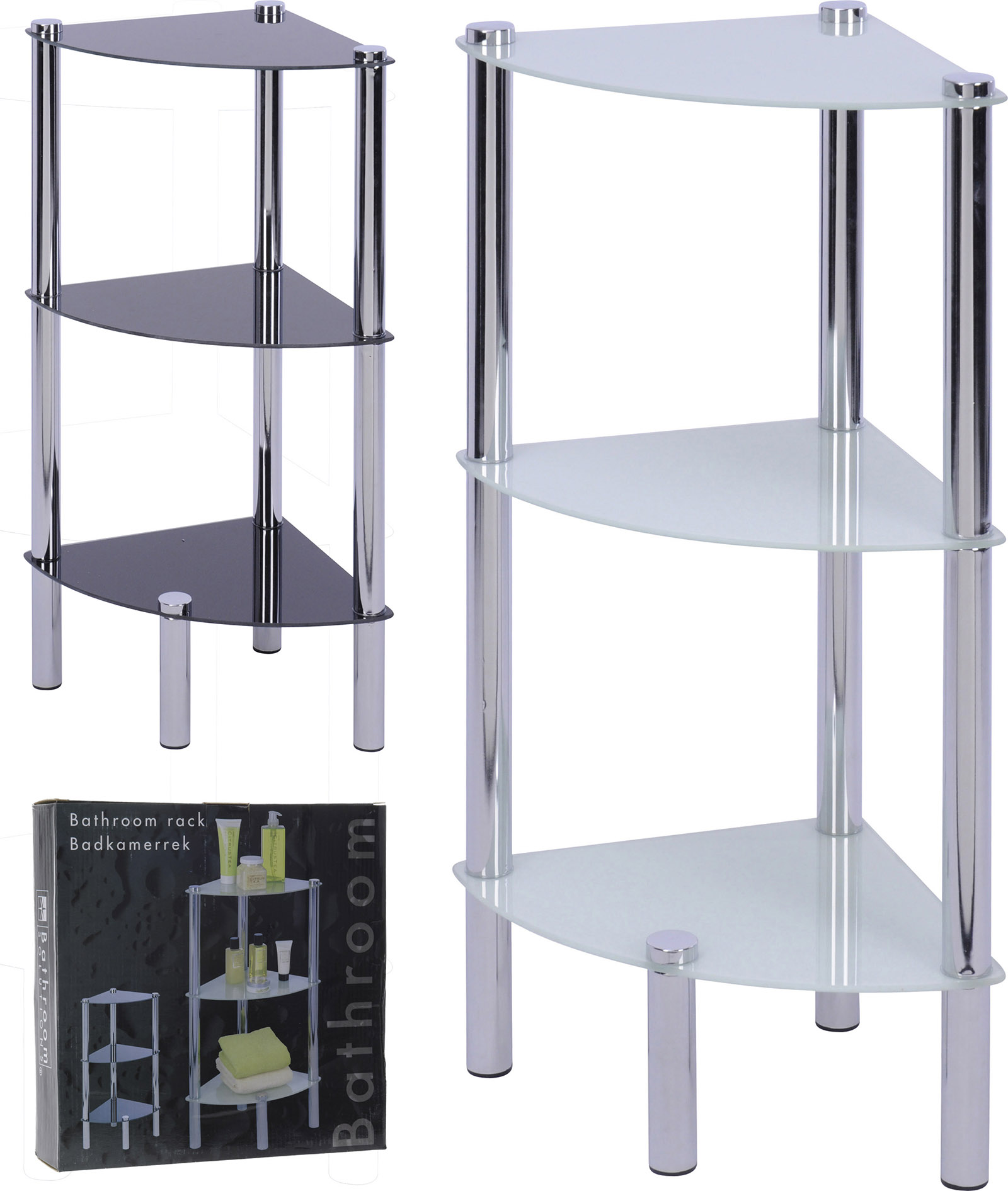 Bathroom shelf rack 3 glass sheets corner standing shelves for Bathroom glass shelves