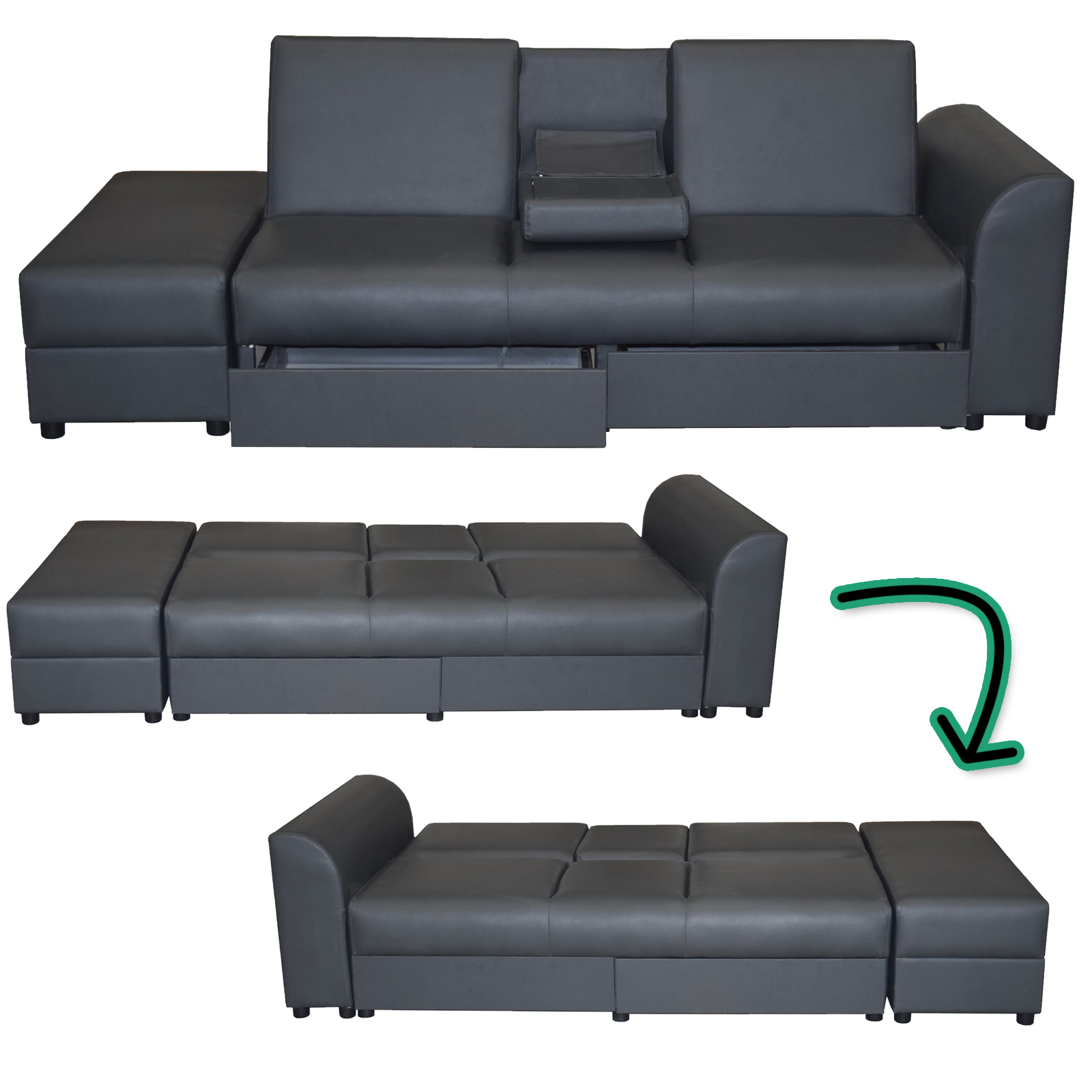 sofa cairo schlafsofa klappsofa kunstleder couch schlafcouch klappcouch garnitur ebay. Black Bedroom Furniture Sets. Home Design Ideas
