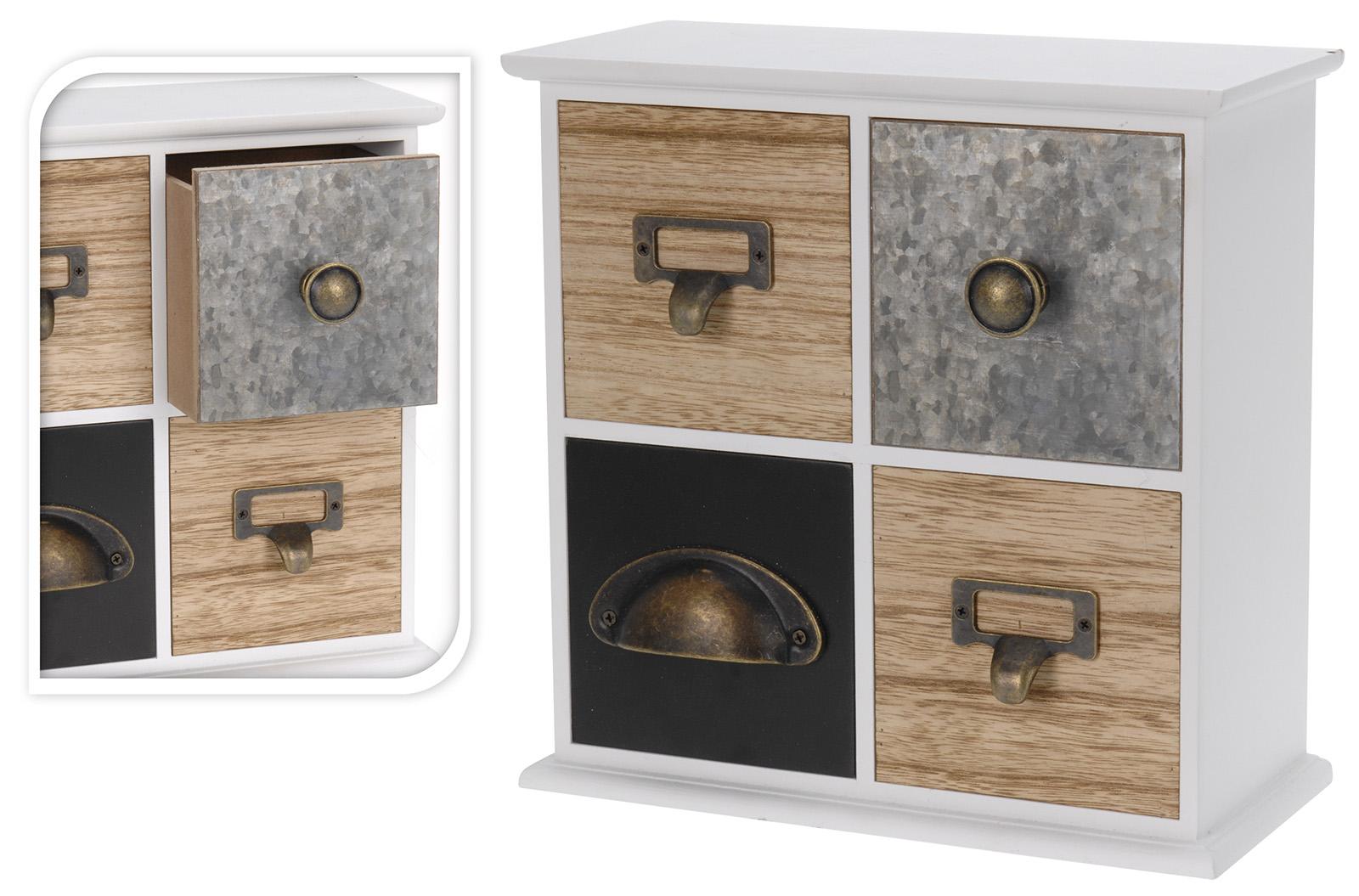 kleiner schrank 4 f cher holz mini kommode leo aufbewahrungsschrank shabby chic ebay. Black Bedroom Furniture Sets. Home Design Ideas