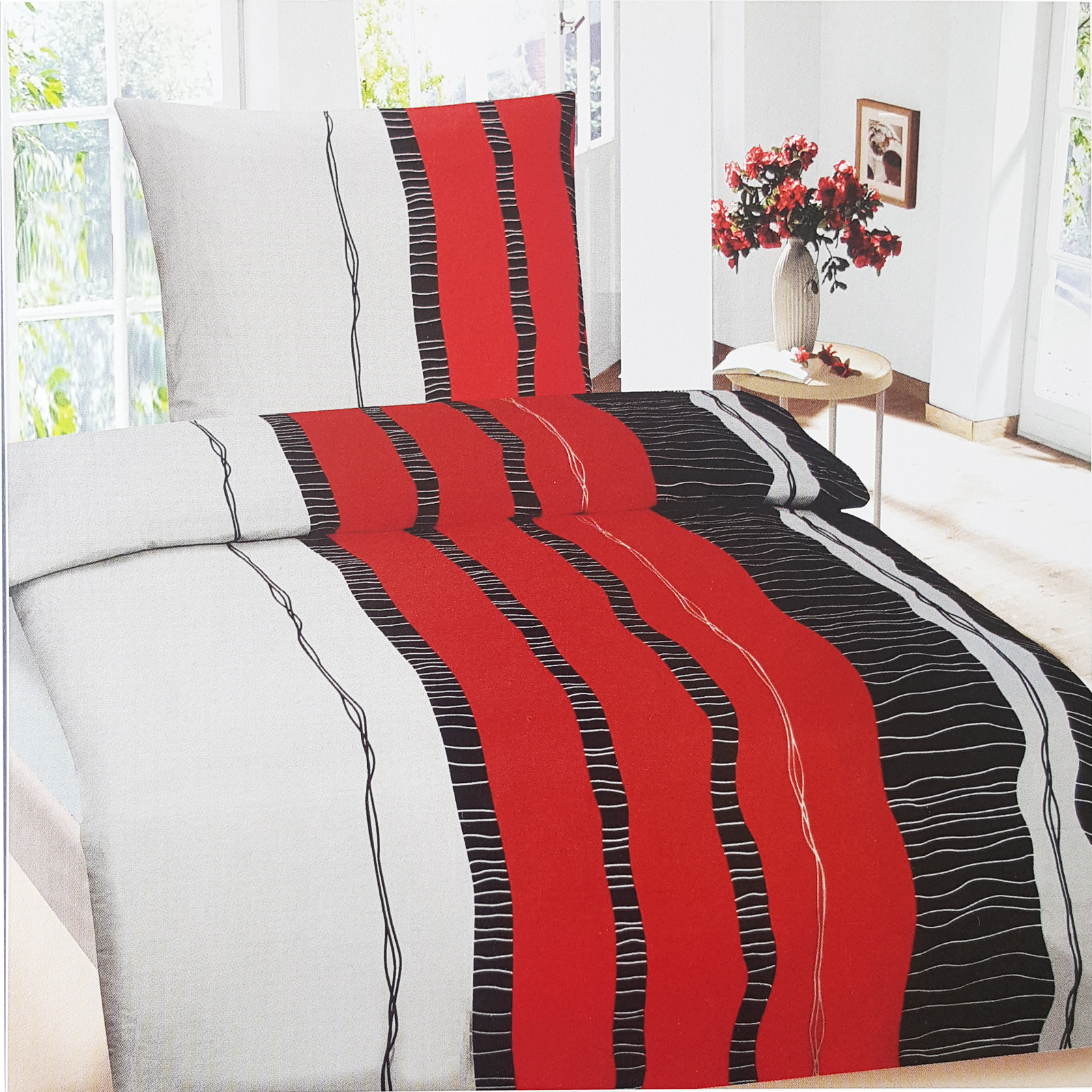bettw sche garnitur bettbezug microfaser 135x200 155x220 200x200 red stripe ebay. Black Bedroom Furniture Sets. Home Design Ideas