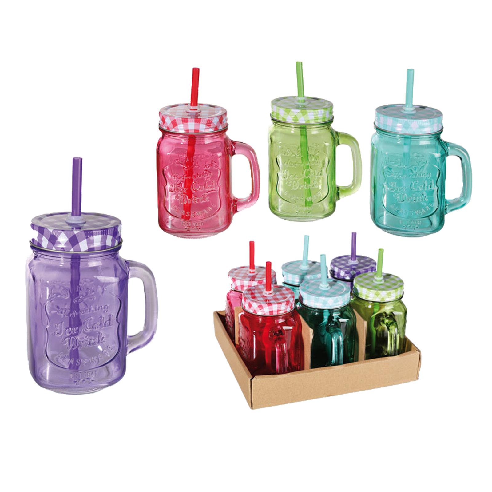 6er set trinkglas henkel halm trinkhalm trinkbecher glas becher 400ml bunt ebay. Black Bedroom Furniture Sets. Home Design Ideas