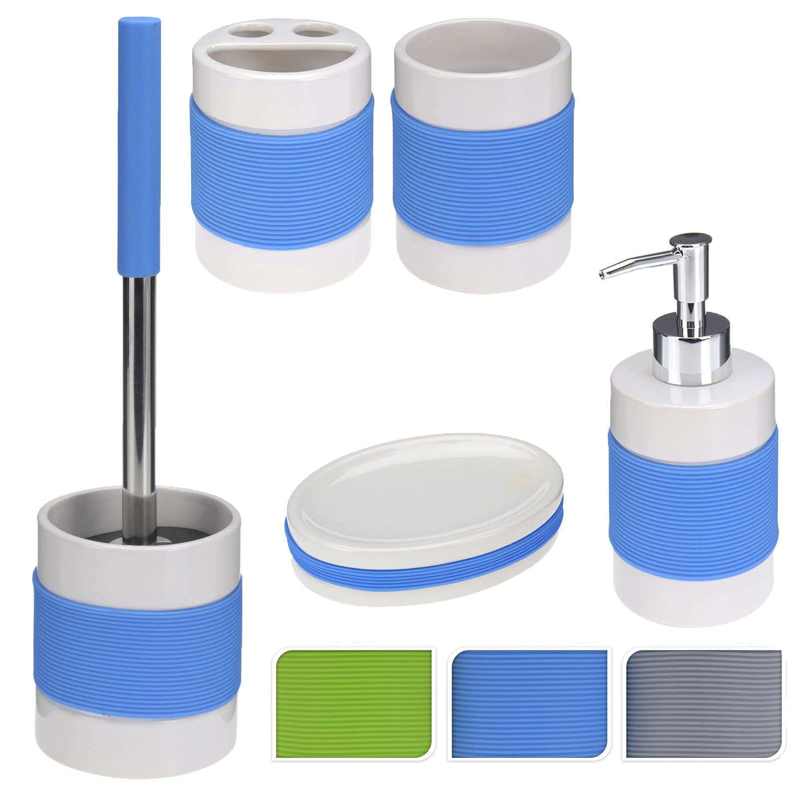 Bathroom accessories set silicone toilet cleaning brush for Bathroom soap dispensers bath accessories