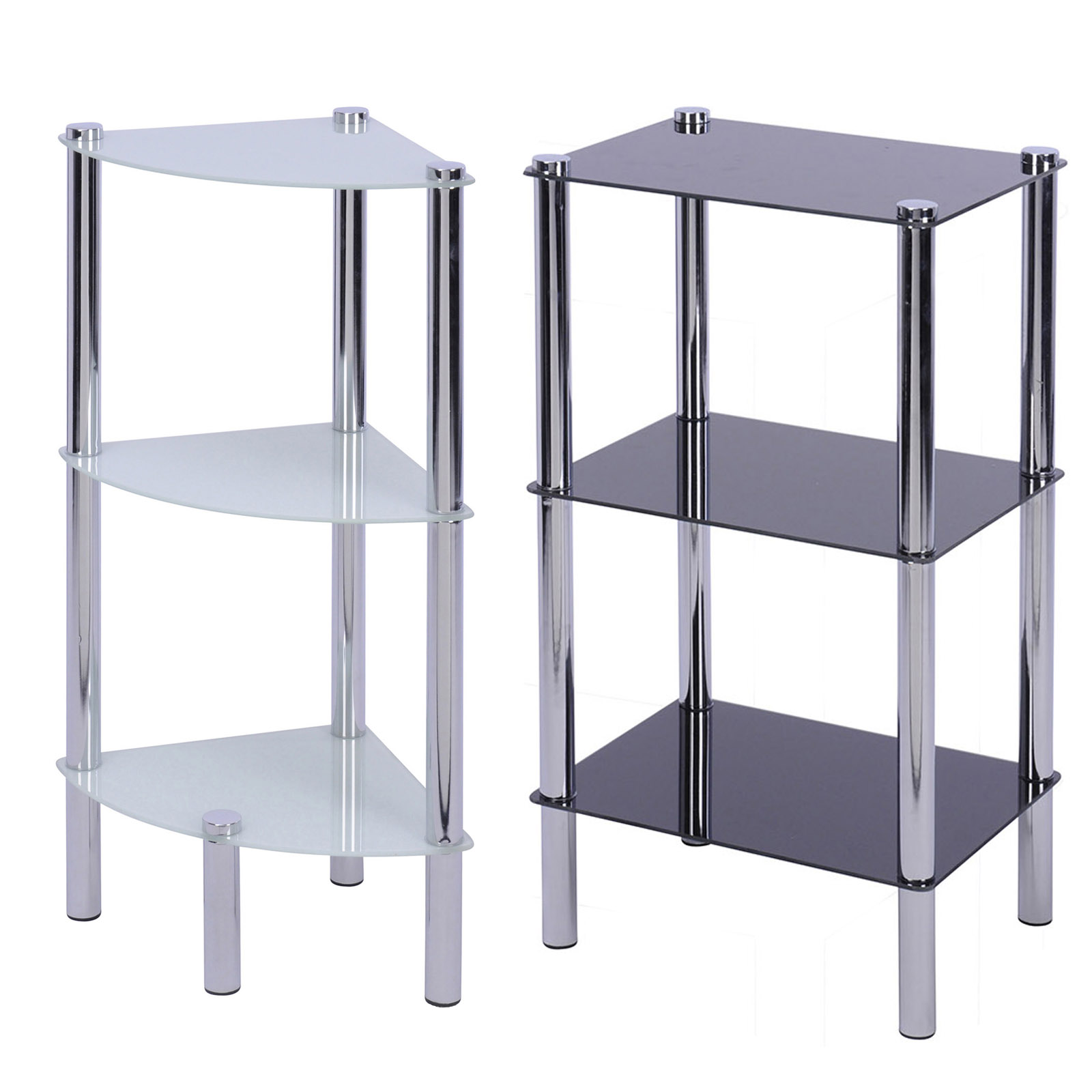 Bathroom Shelf Rack 3 Glass Sheets Corner Standing Shelves