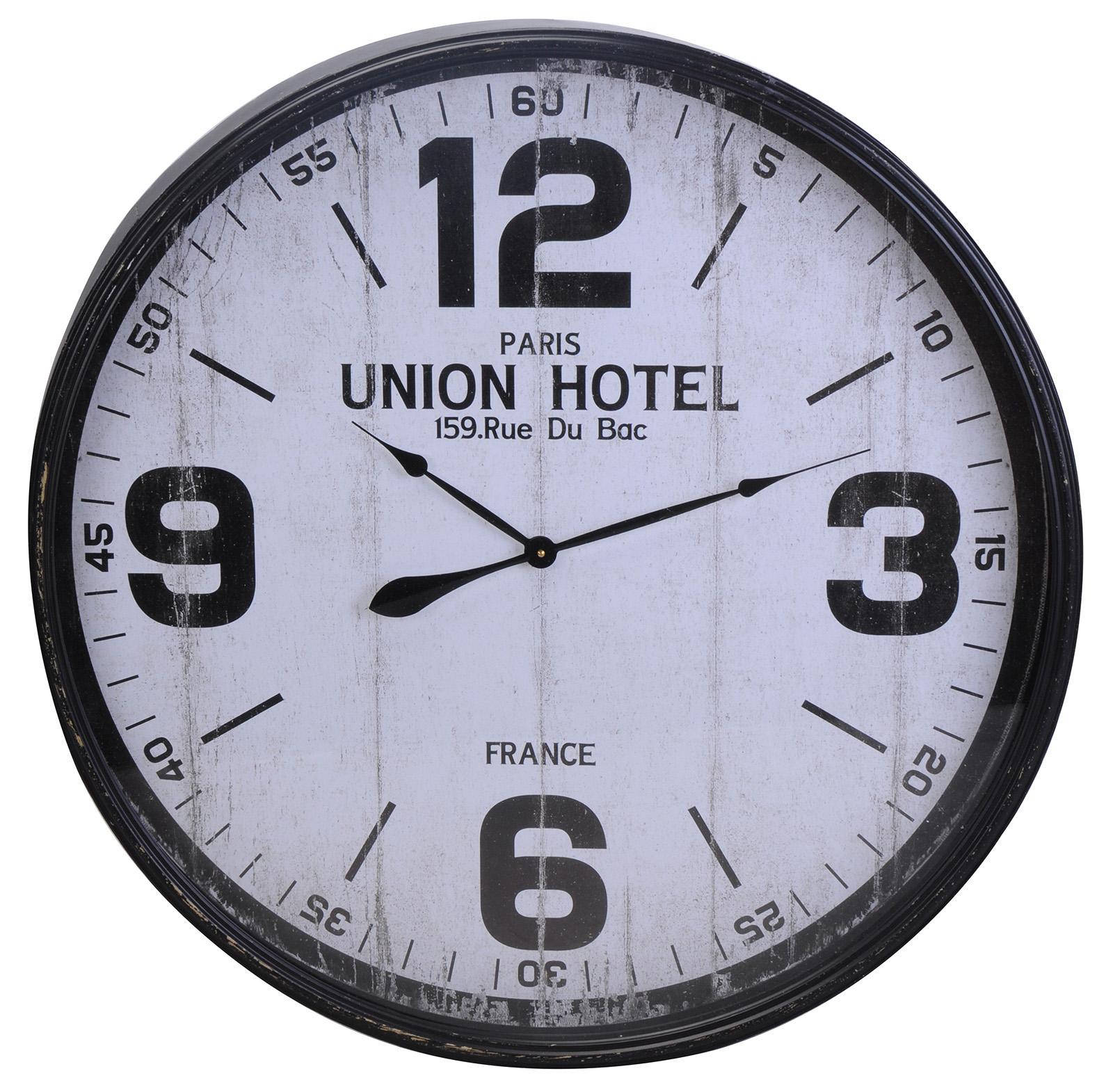 Große Wanduhr große wanduhr metall ø 90cm union hotel shabby chic wand uhr