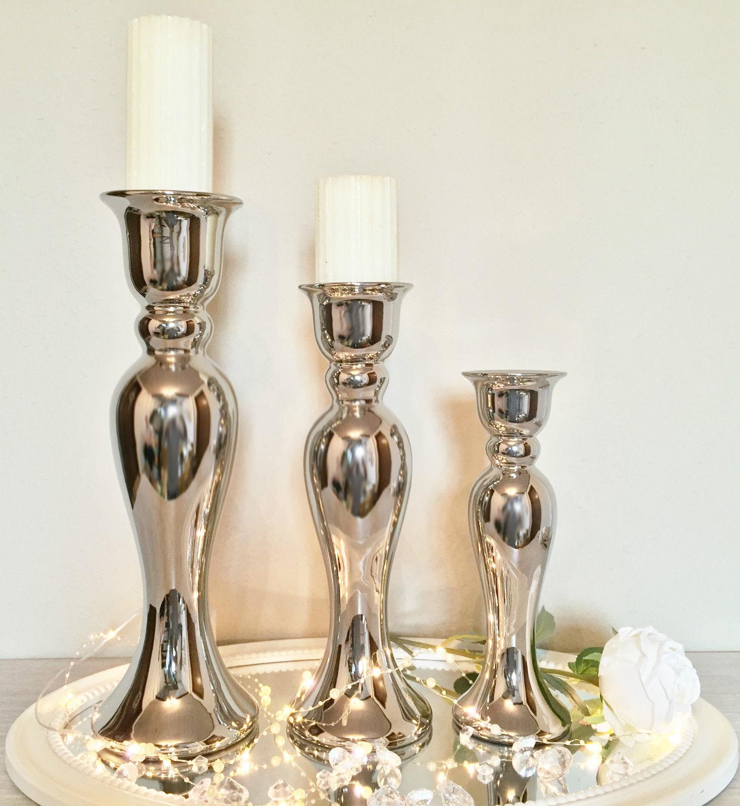 Ceramica candelabro candeliere argento bianco supporto candela ...