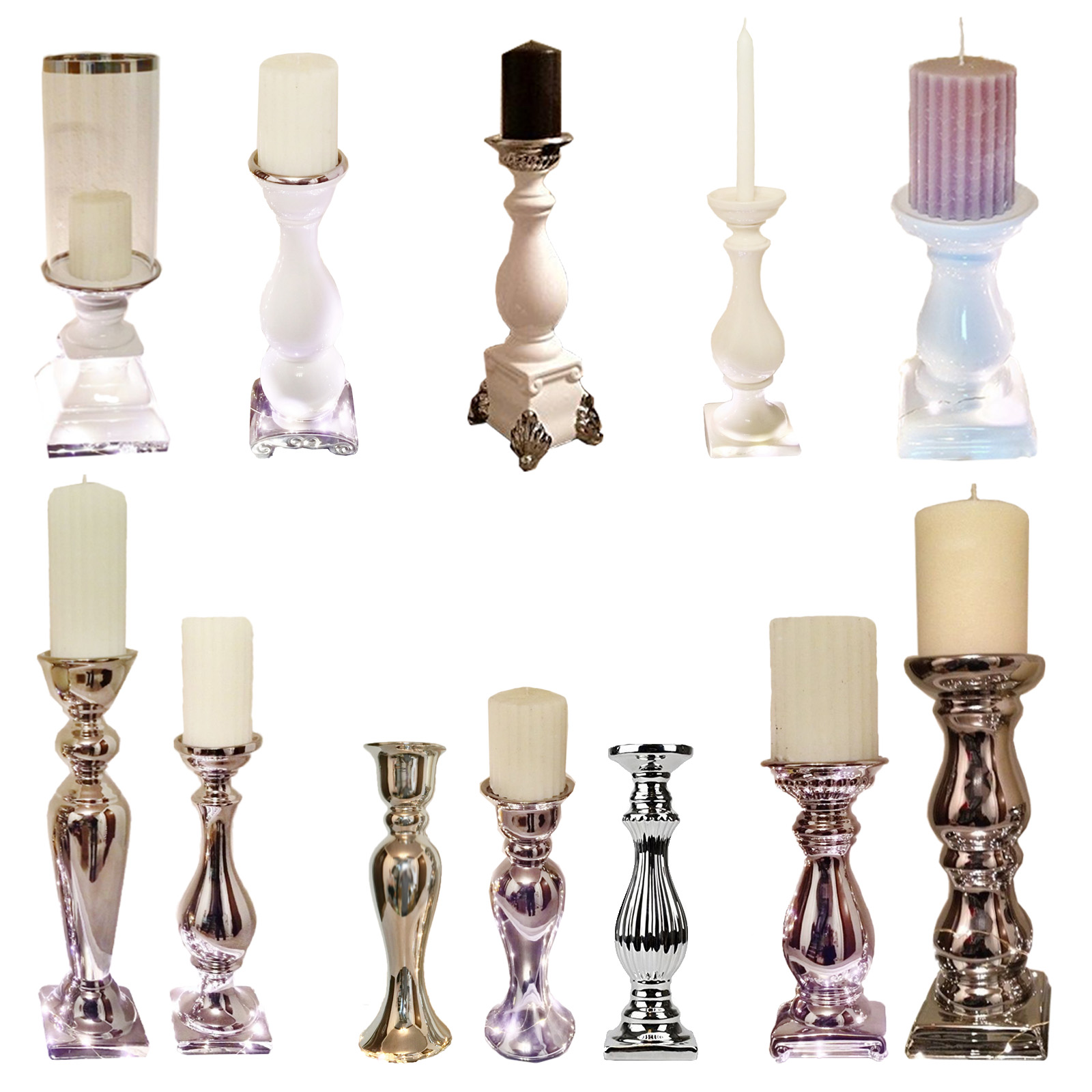 keramik kerzenleuchter kerzenst nder silber wei windlicht kerzenhalter st nder ebay. Black Bedroom Furniture Sets. Home Design Ideas